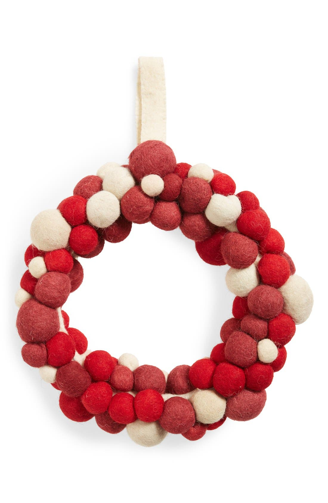 Felt Wreath,                         Main,                         color, Red/ Ivory