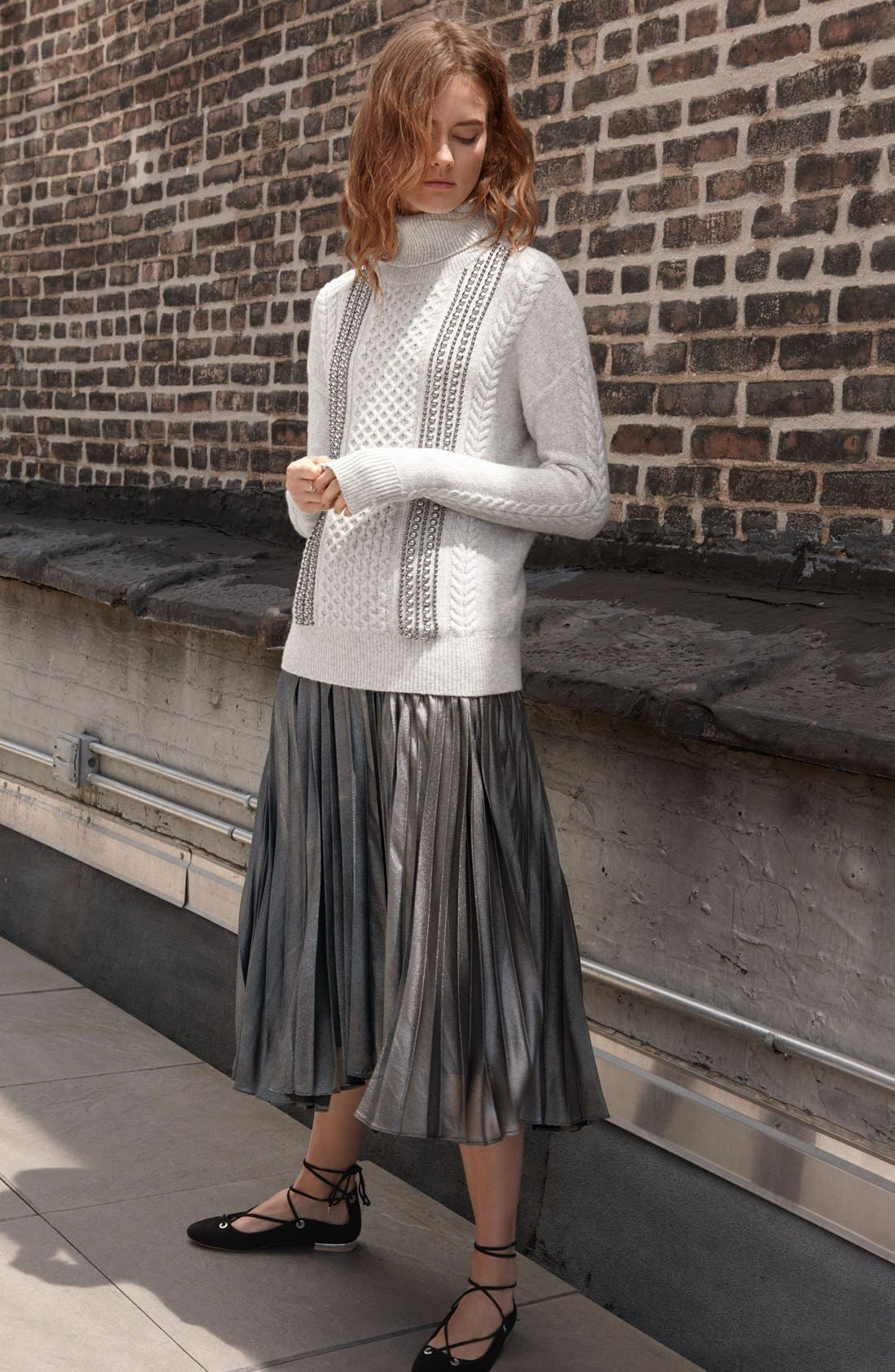 Alternate Image 6  - Halogen® Pleated Lurex® Midi Skirt (Regular & Petite)