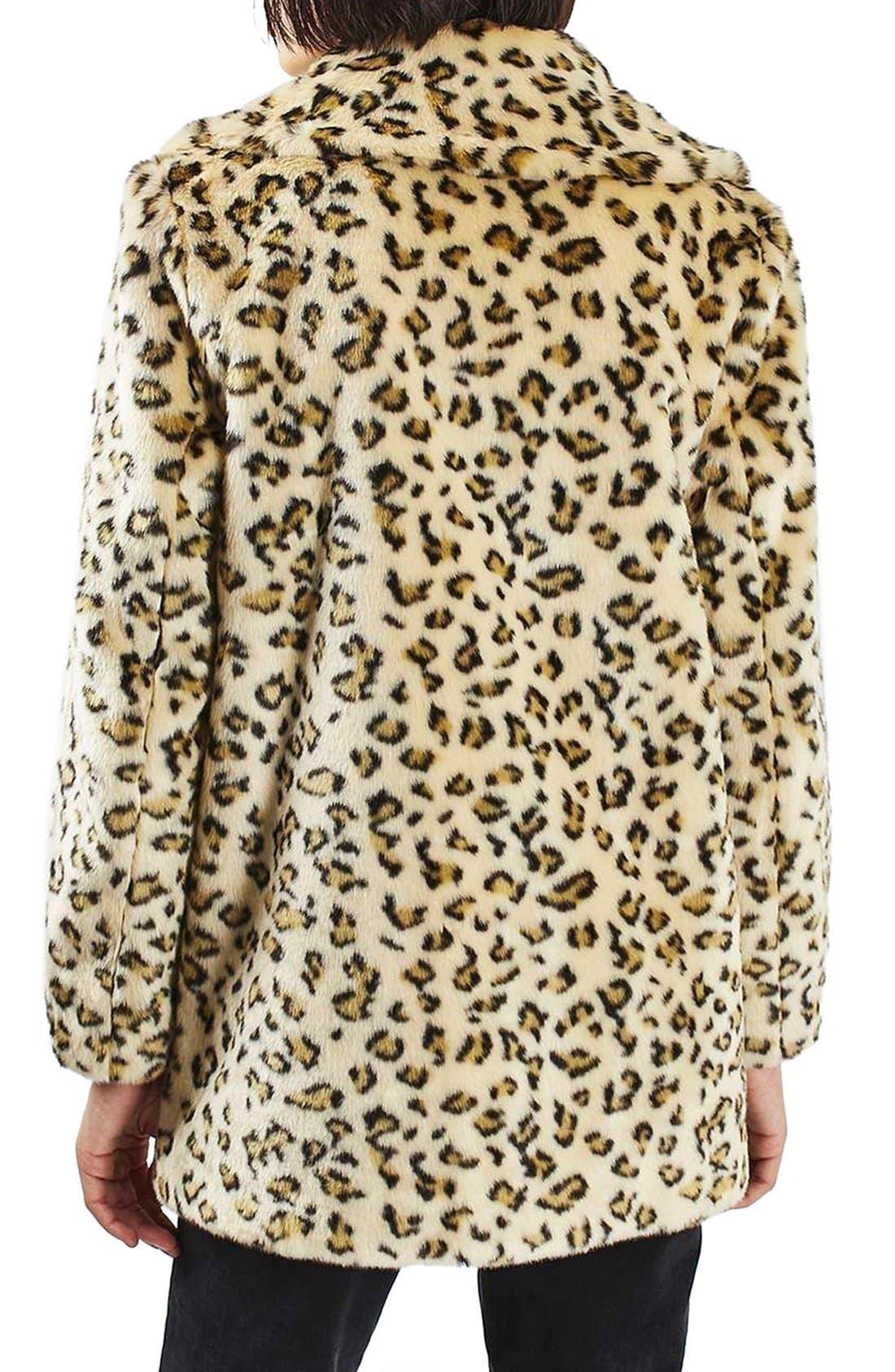 Alternate Image 4  - Topshop Leopard Faux Fur Coat