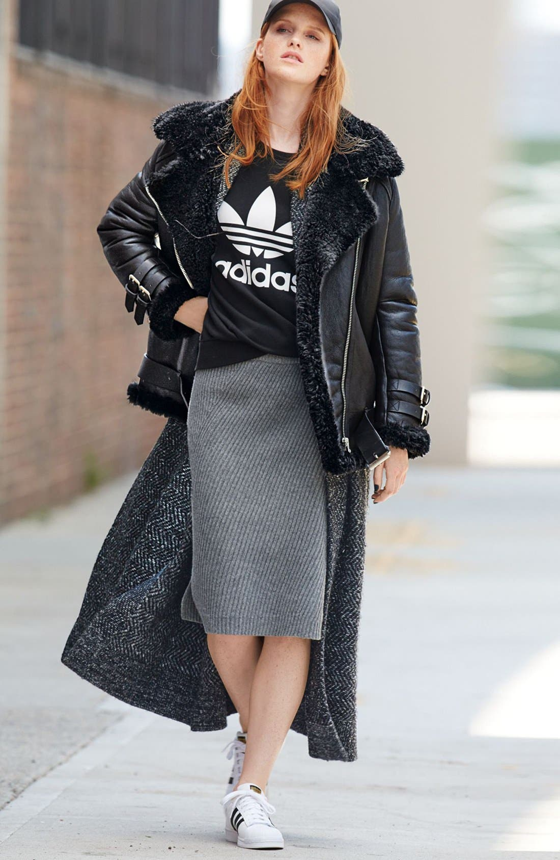 ACNE Studios Genuine Shearling Jacket, adidas Originals Sweater \u0026 Madewell  Skirt Outfit with Accessories