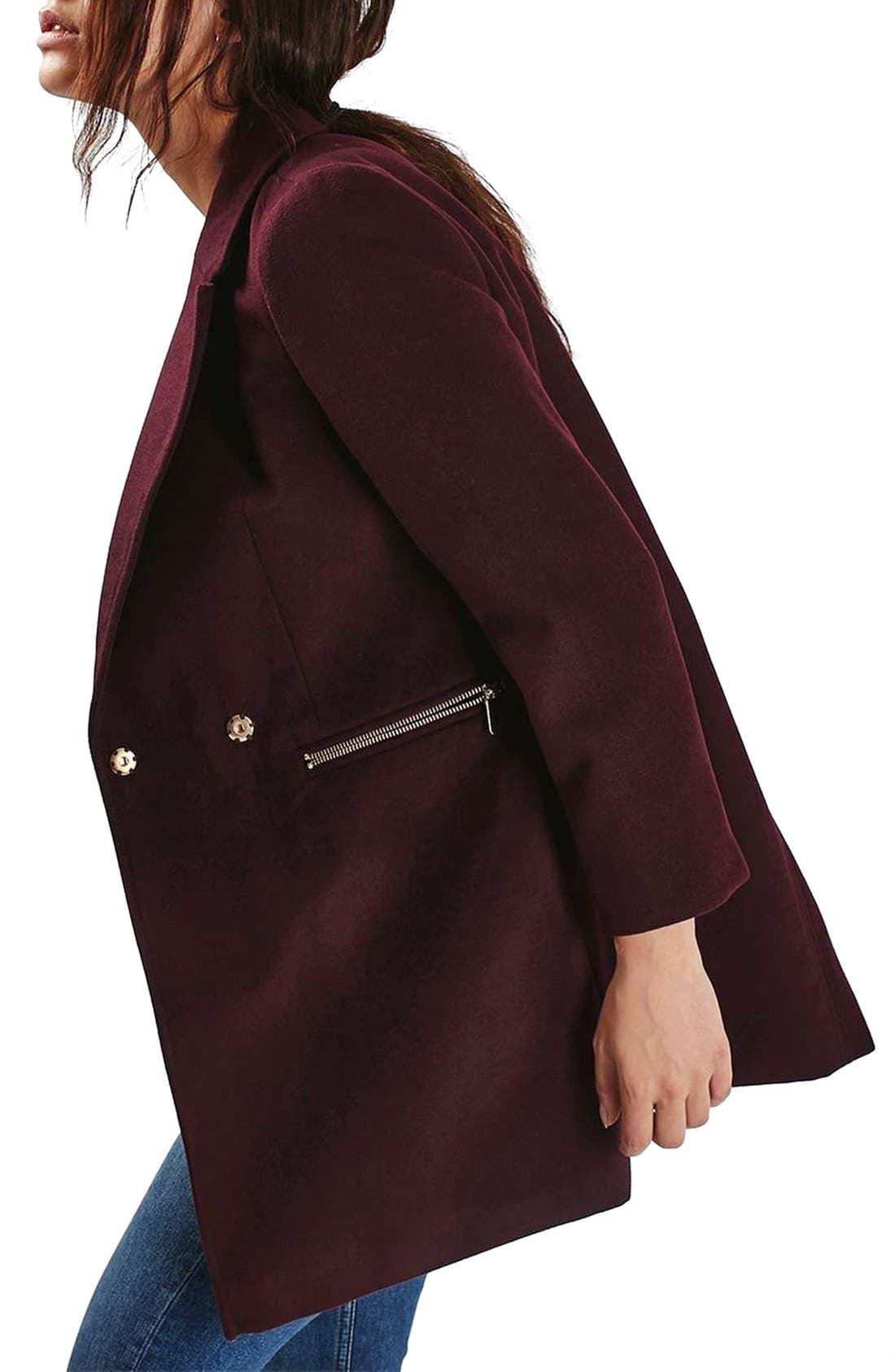 'Meg' Zip Pocket Coat,                             Alternate thumbnail 4, color,                             Burgundy