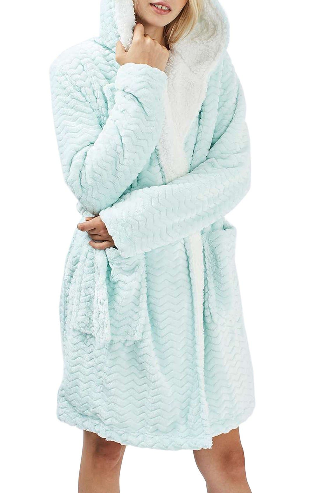 Teddy Hooded Chevron Robe,                         Main,                         color, Turquoise
