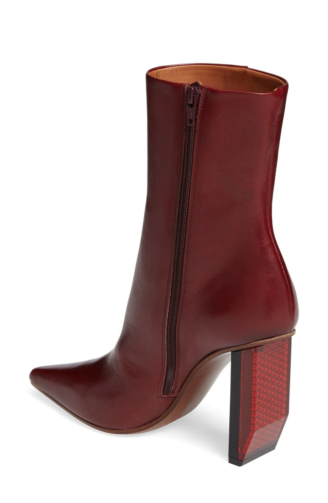 Reflector Heel Ankle Boot,                             Alternate thumbnail 2, color,                             Burgundy/ Red Heel