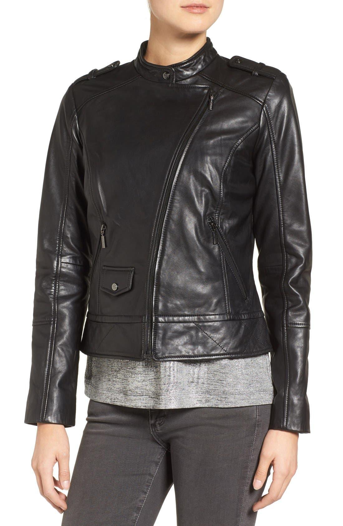 Alternate Image 4  - Bernardo Slim Fit Leather Moto Jacket