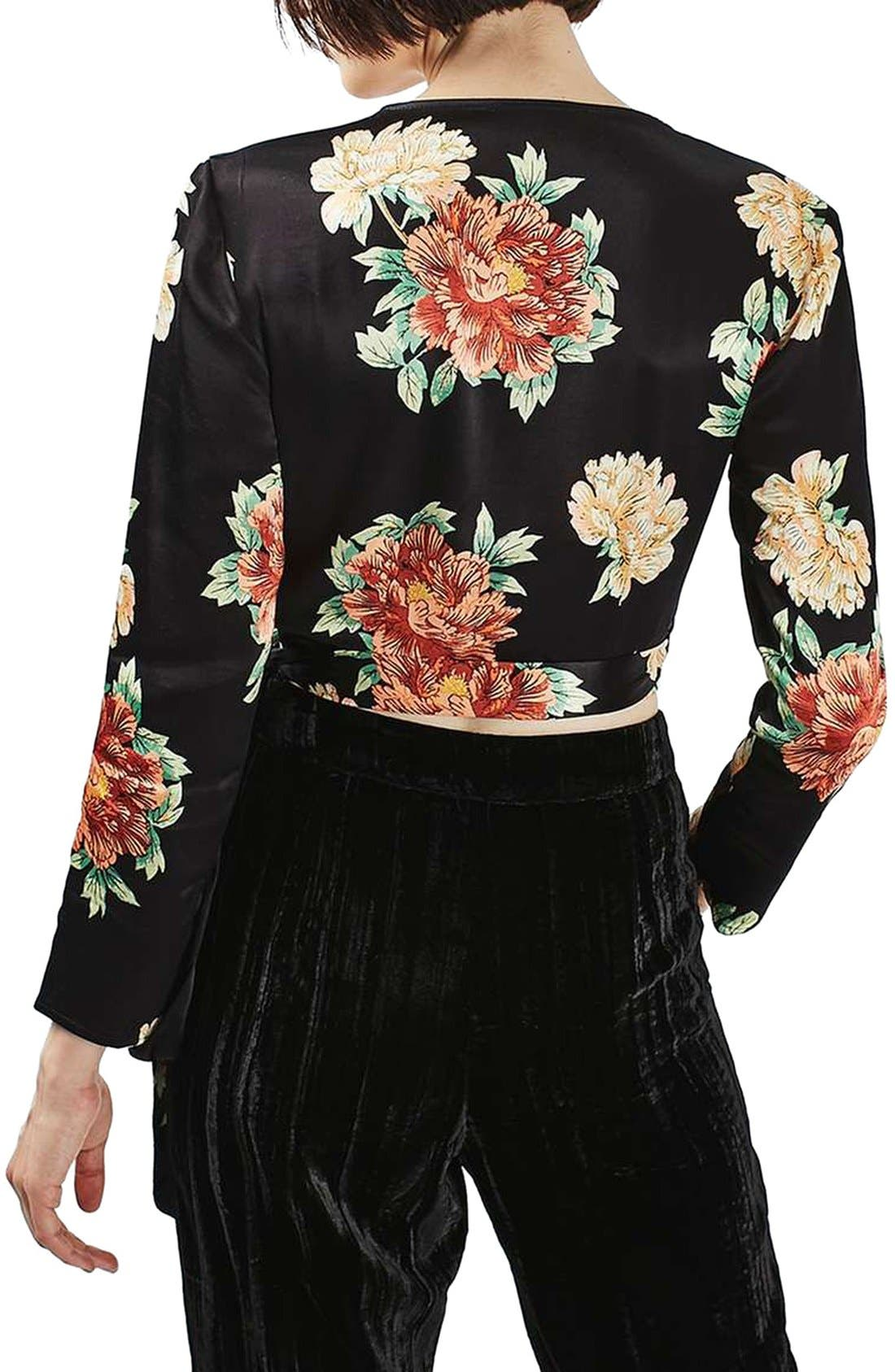Alternate Image 3  - Topshop Sophia Floral Satin Wrap Top