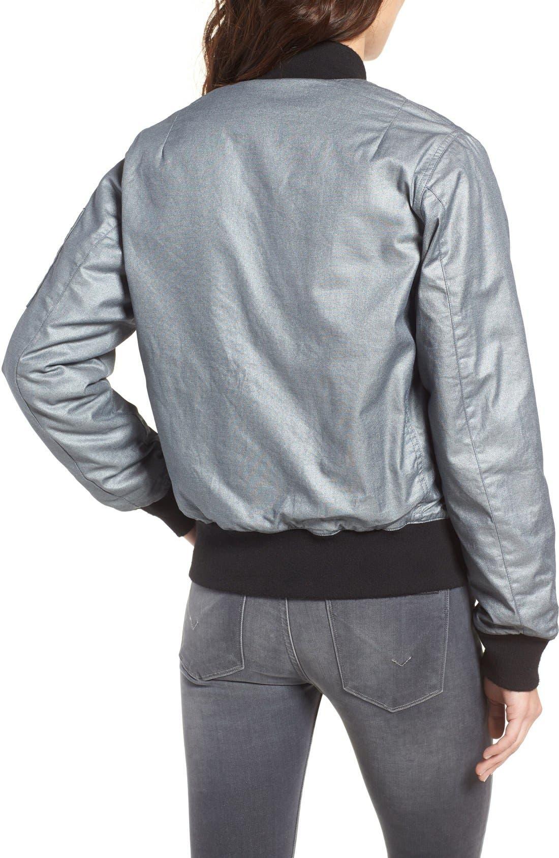 Alternate Image 2  - Hudson Jeans Gene Metallic Bomber Jacket