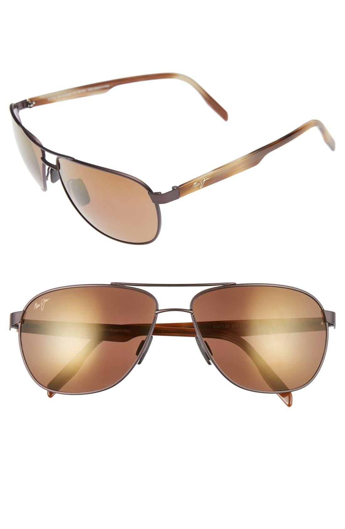 'Castles - PolarizedPlus<sup>®</sup>2' 61mm Aviator Sunglasses,                         Main,                         color, Matte Chocolate