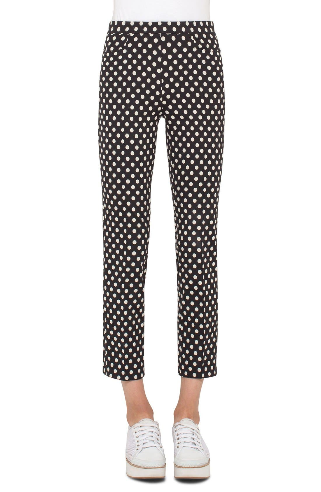 Franca Dot Print Techno Stretch Pants,                         Main,                         color, Dot Print Black