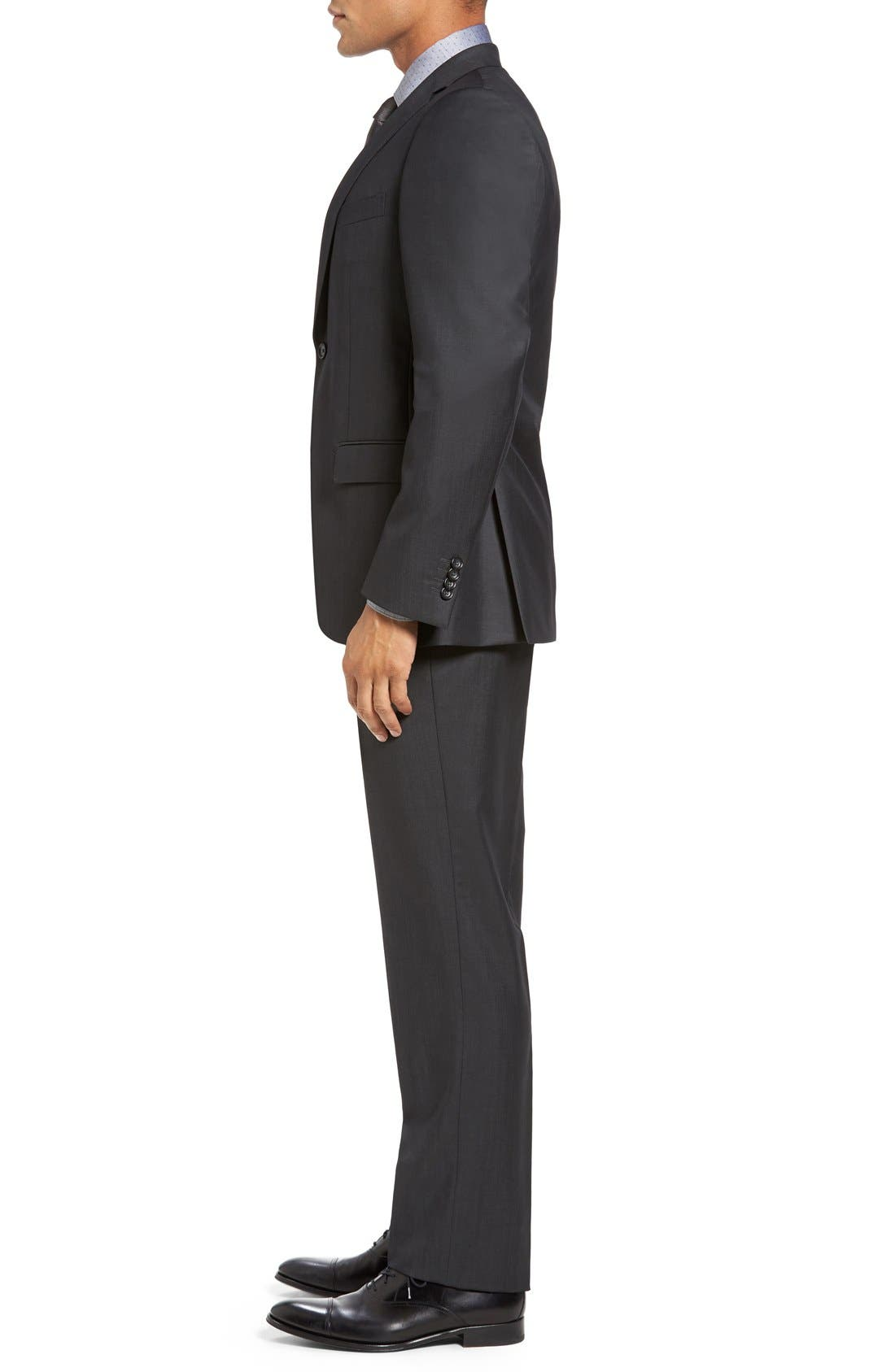 Trim Fit Solid Wool Suit,                             Alternate thumbnail 3, color,                             Dark Grey