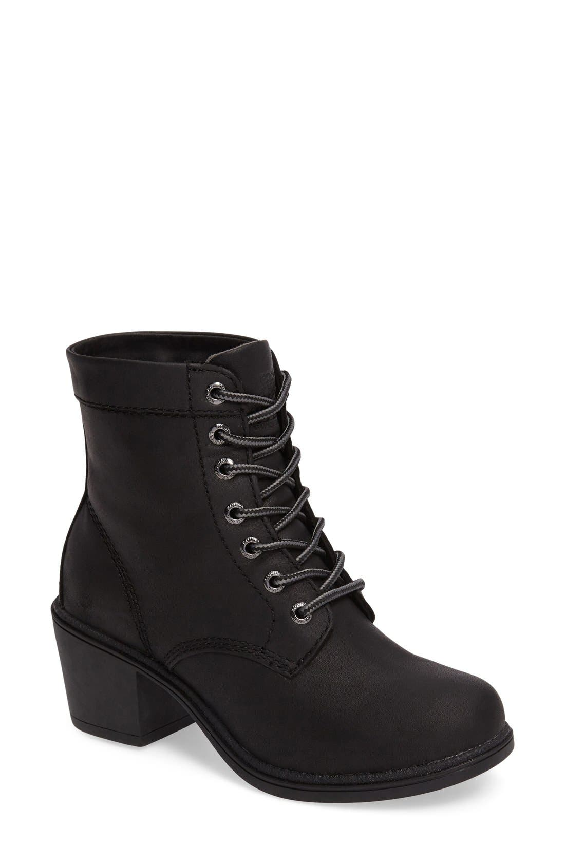 Claire Waterproof Bootie,                         Main,                         color, Black Leather