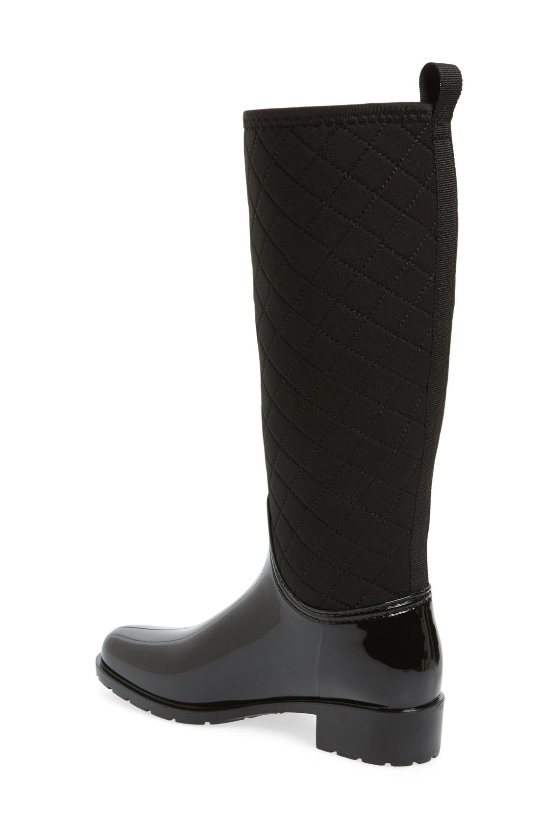 Parma Quilted Tall Waterproof Rain Boot,                             Alternate thumbnail 2, color,                             Black