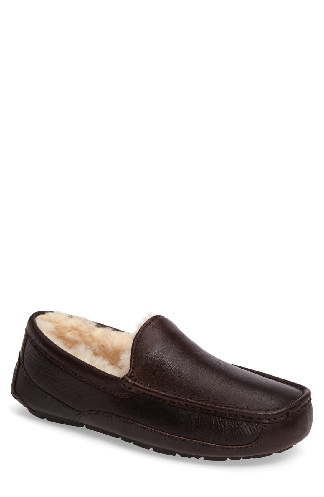Alternate Image 1 Selected - UGG® Ascot Leather Slipper (Men)