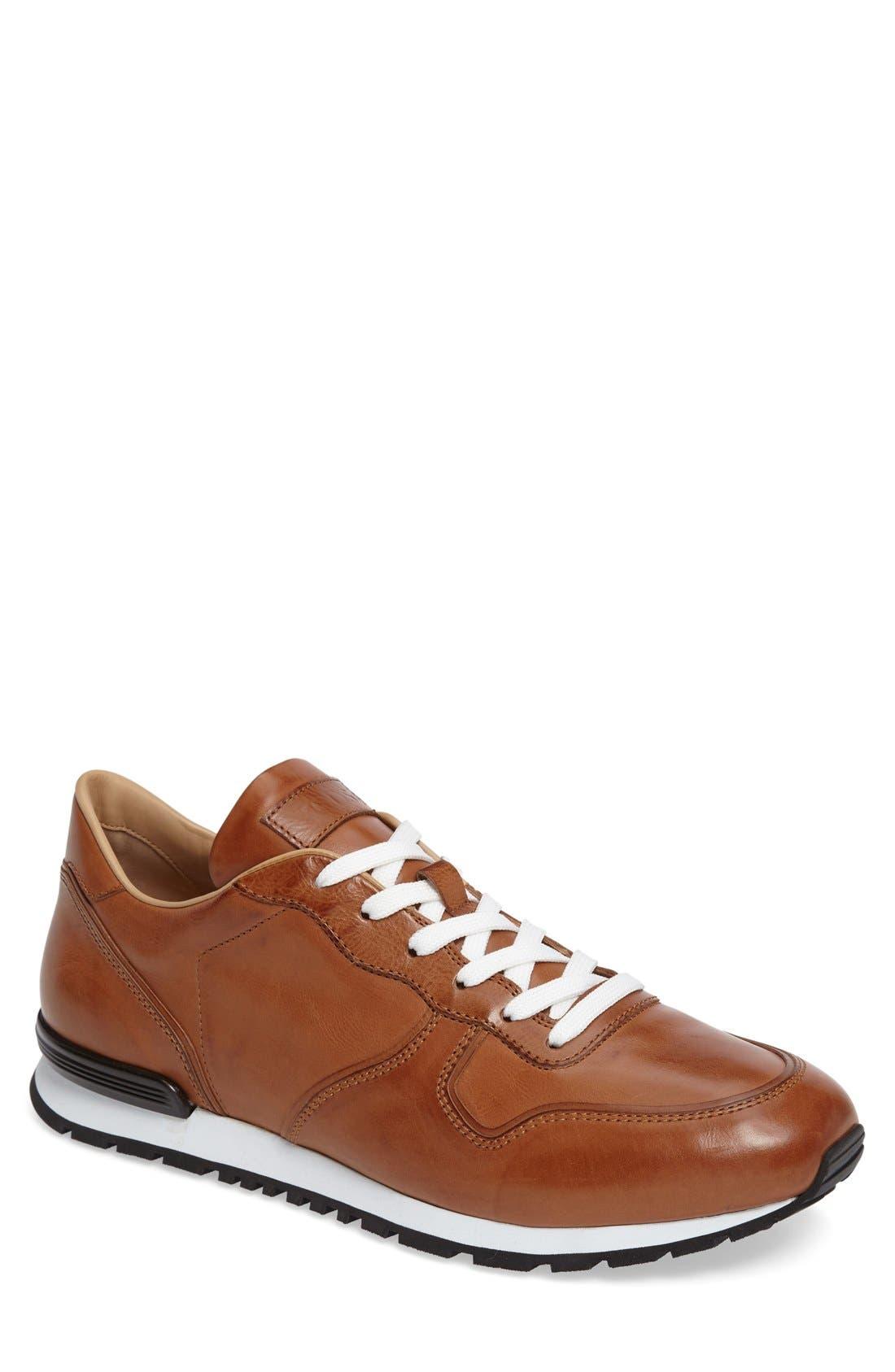 'Allacciato' Sneaker,                         Main,                         color, Brown Leather