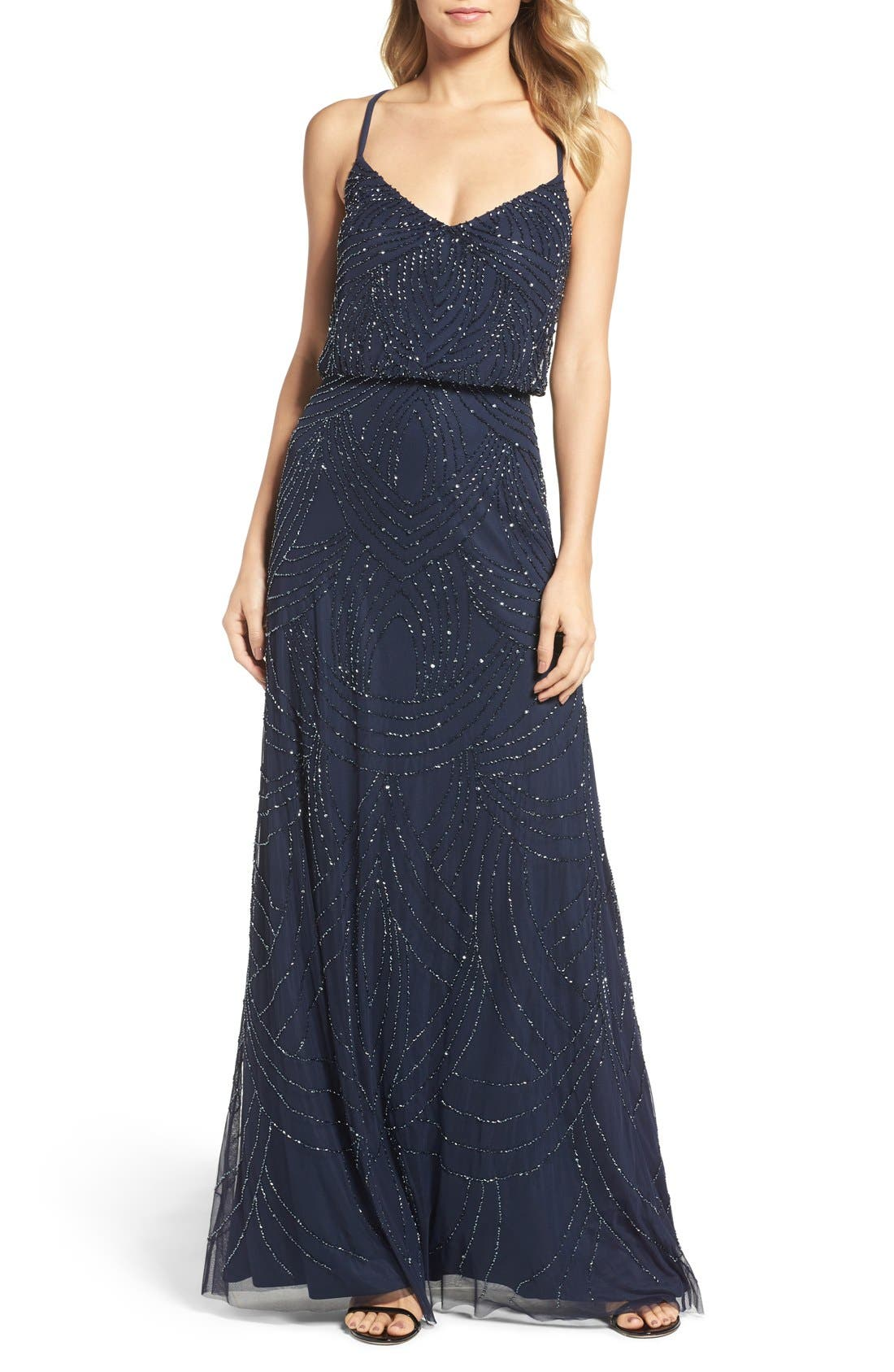Beaded Chiffon Blouson Gown,                         Main,                         color, Navy