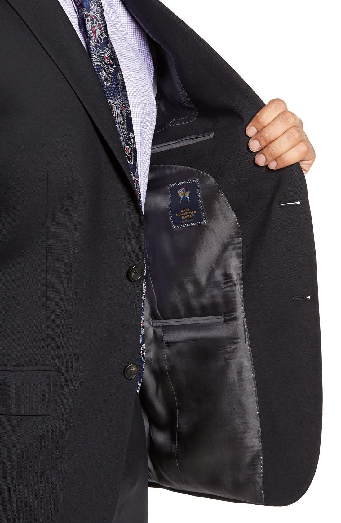 New York Classic Fit Solid Stretch Wool Suit,                             Alternate thumbnail 4, color,                             Black