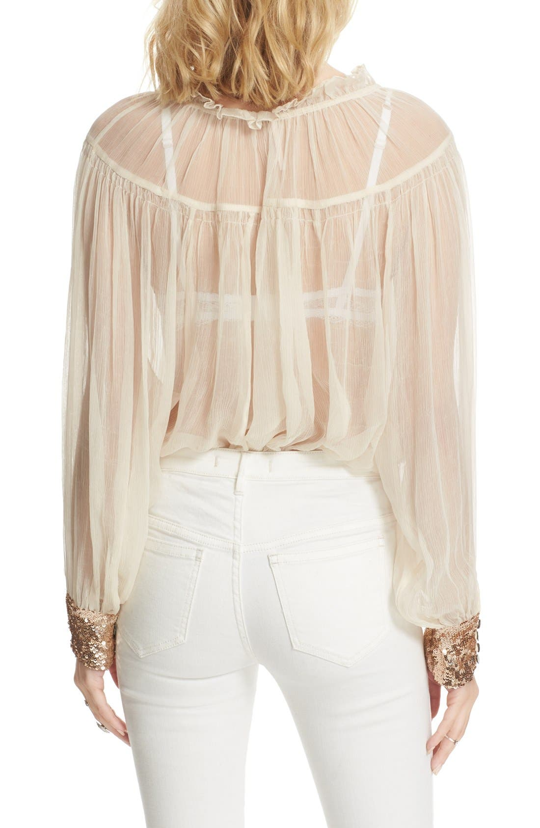 Dream Cuff Blouse,                             Alternate thumbnail 2, color,                             Ivory