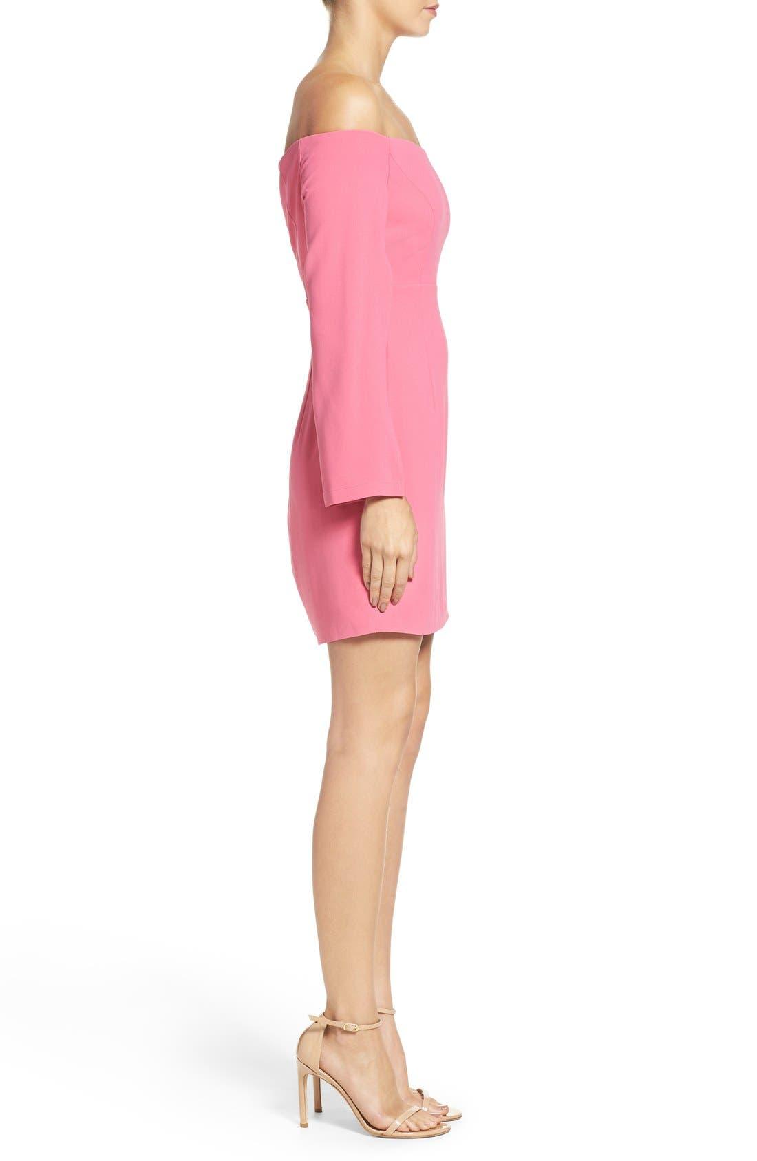 Ava Off the Shoulder Dress,                             Alternate thumbnail 3, color,                             Tulip Pink