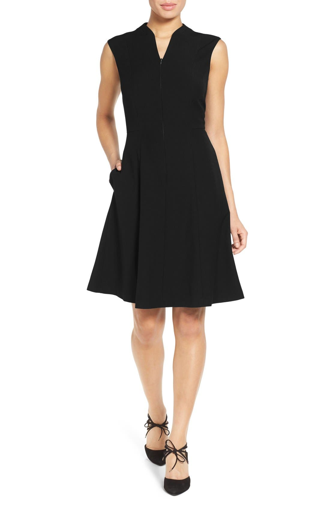 Fit & Flare Dress,                             Main thumbnail 1, color,                             Black