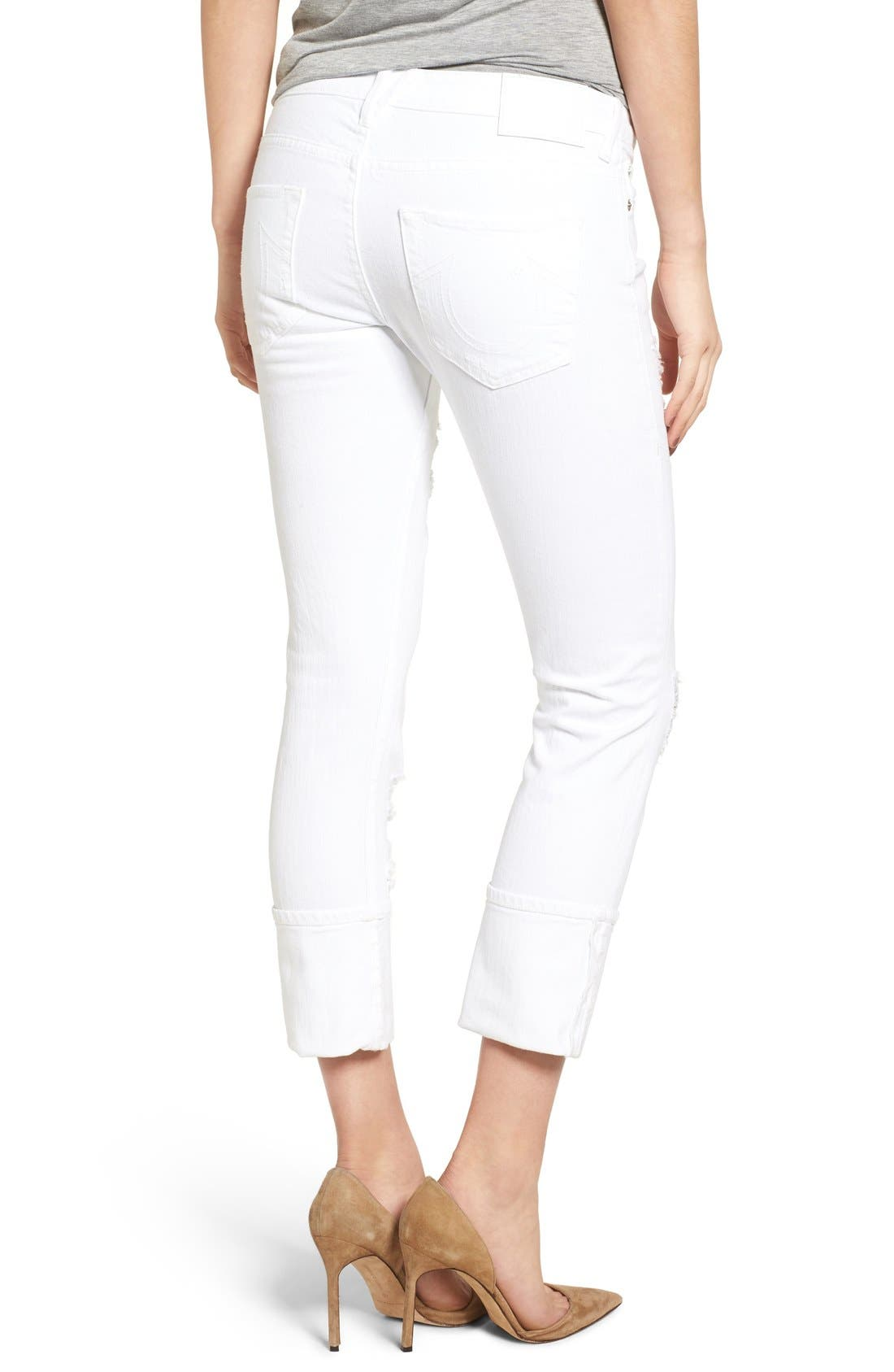 Liv Relaxed Skinny Jeans,                             Alternate thumbnail 2, color,                             Bright White Destroyed