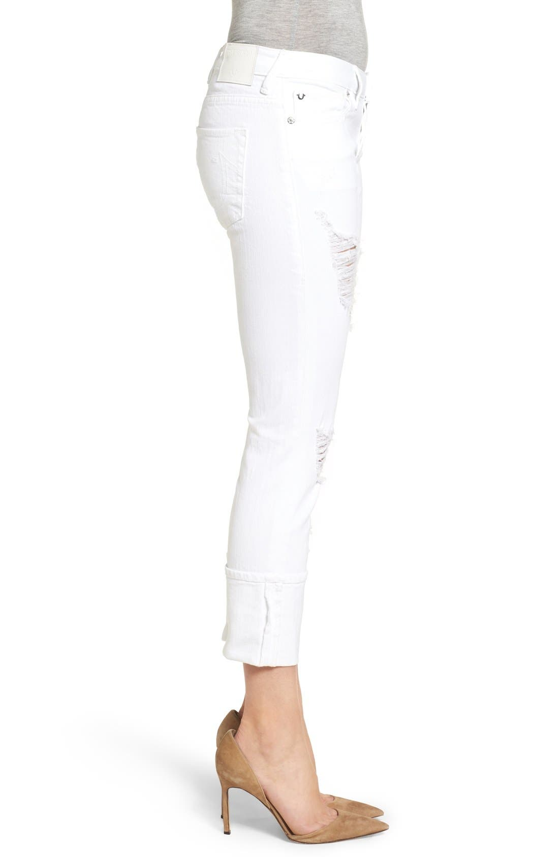 Alternate Image 3  - True Religion Brand Jeans Liv Relaxed Skinny Jeans (Bright White Ripped)