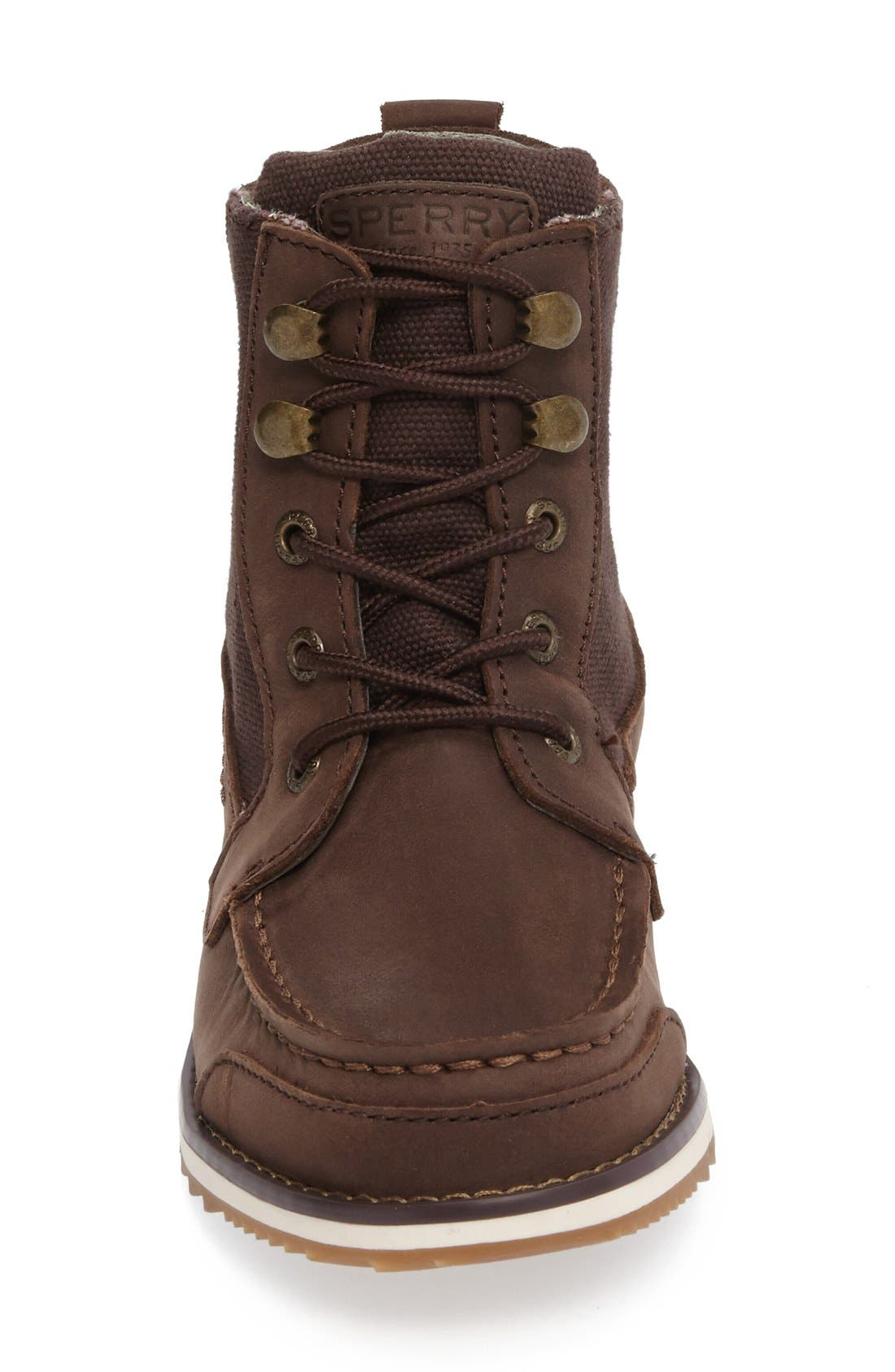 Sperry Dockyard Boot,                             Alternate thumbnail 3, color,                             Brown Faux Leather