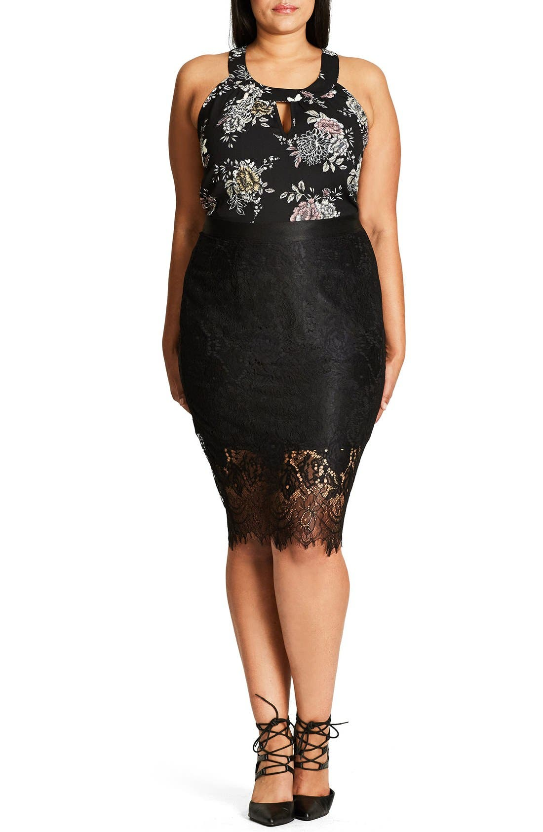 City Chic Romantic Lace Pencil Skirt (Plus Size)