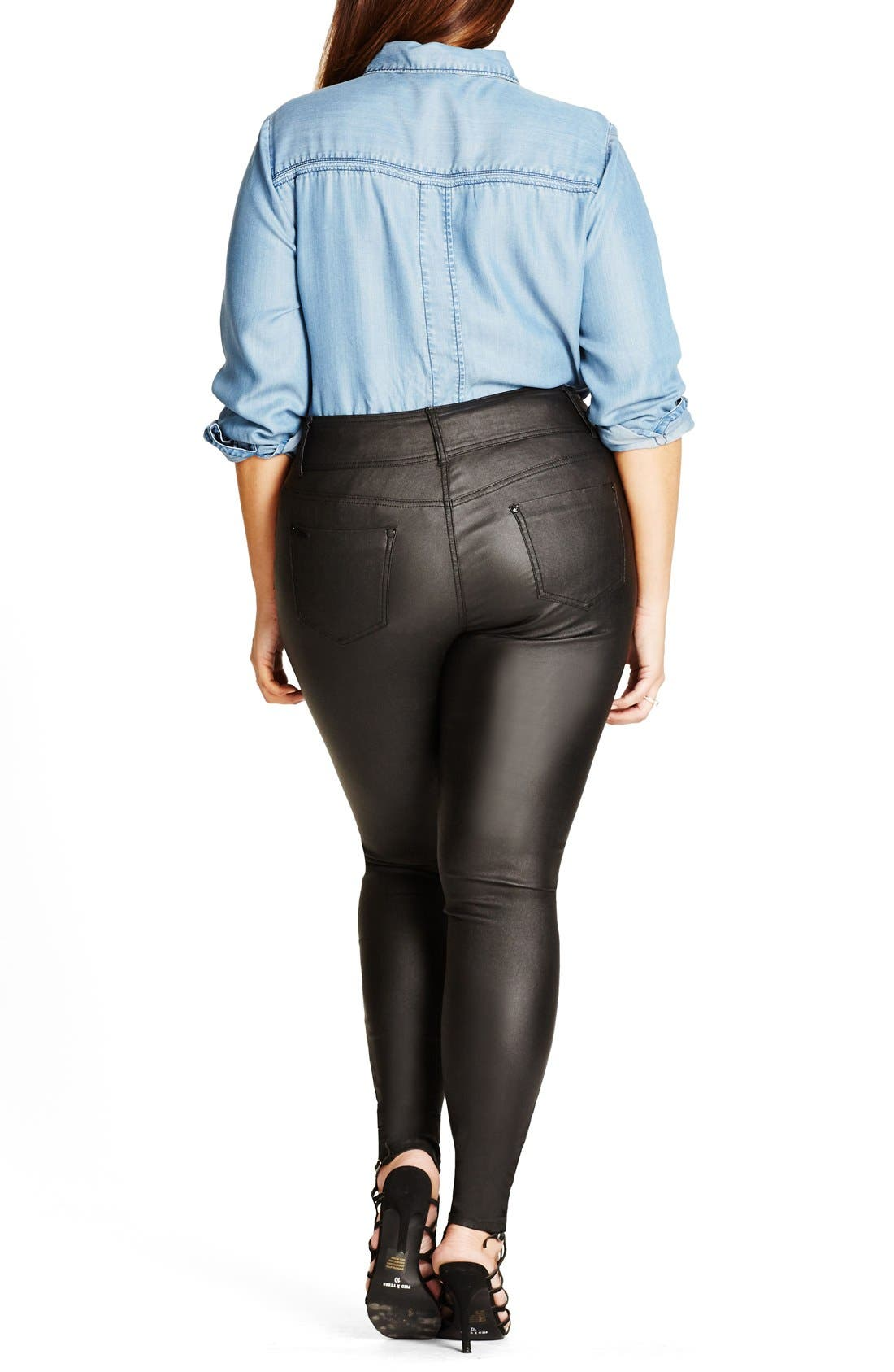 Alternate Image 2  - City Chic Skylar Coated Super Stretch Skinny Jeans (Plus Size)