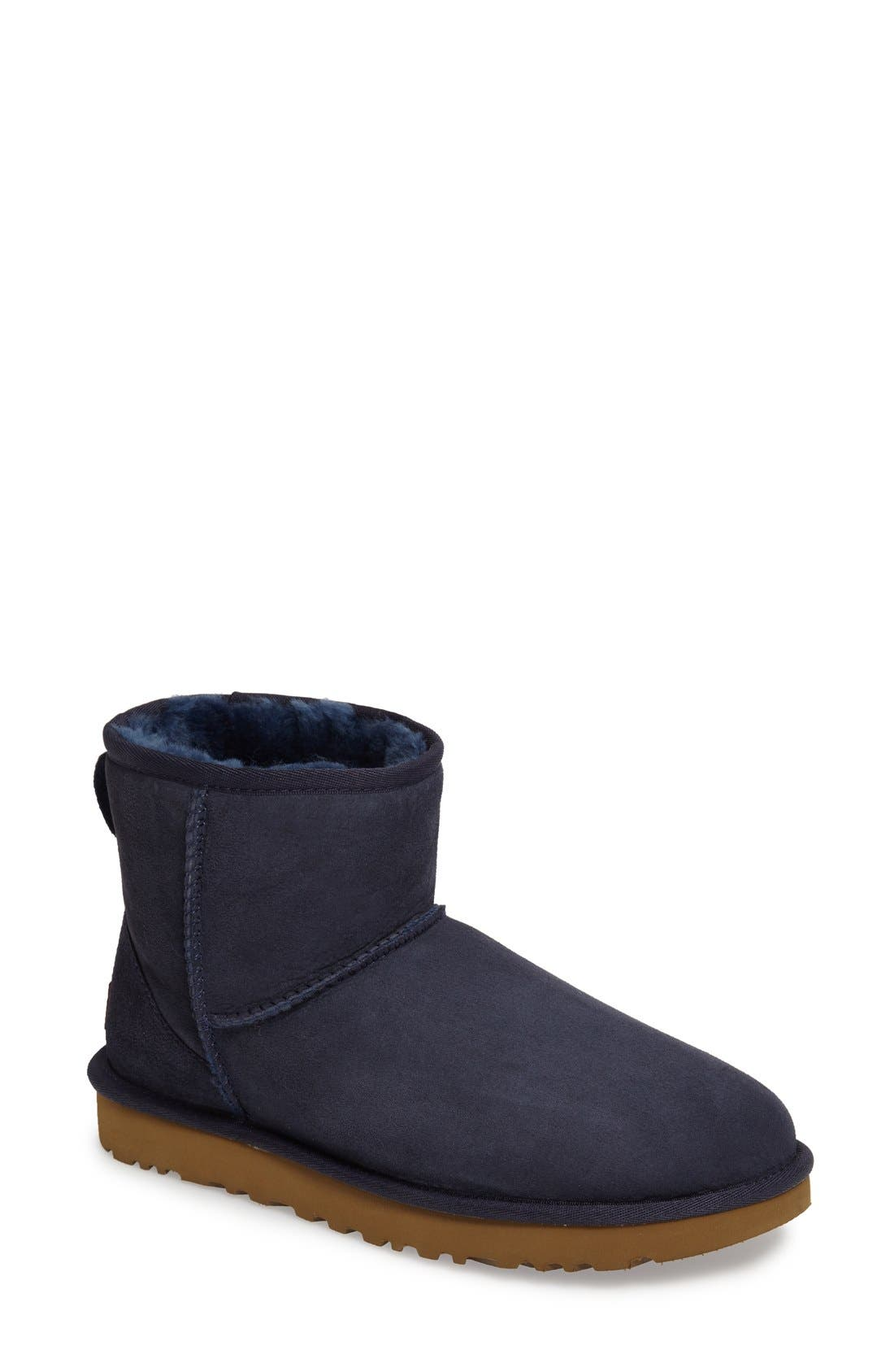 'Classic Mini II' Genuine Shearling Lined Boot,                             Main thumbnail 1, color,                             Navy Suede