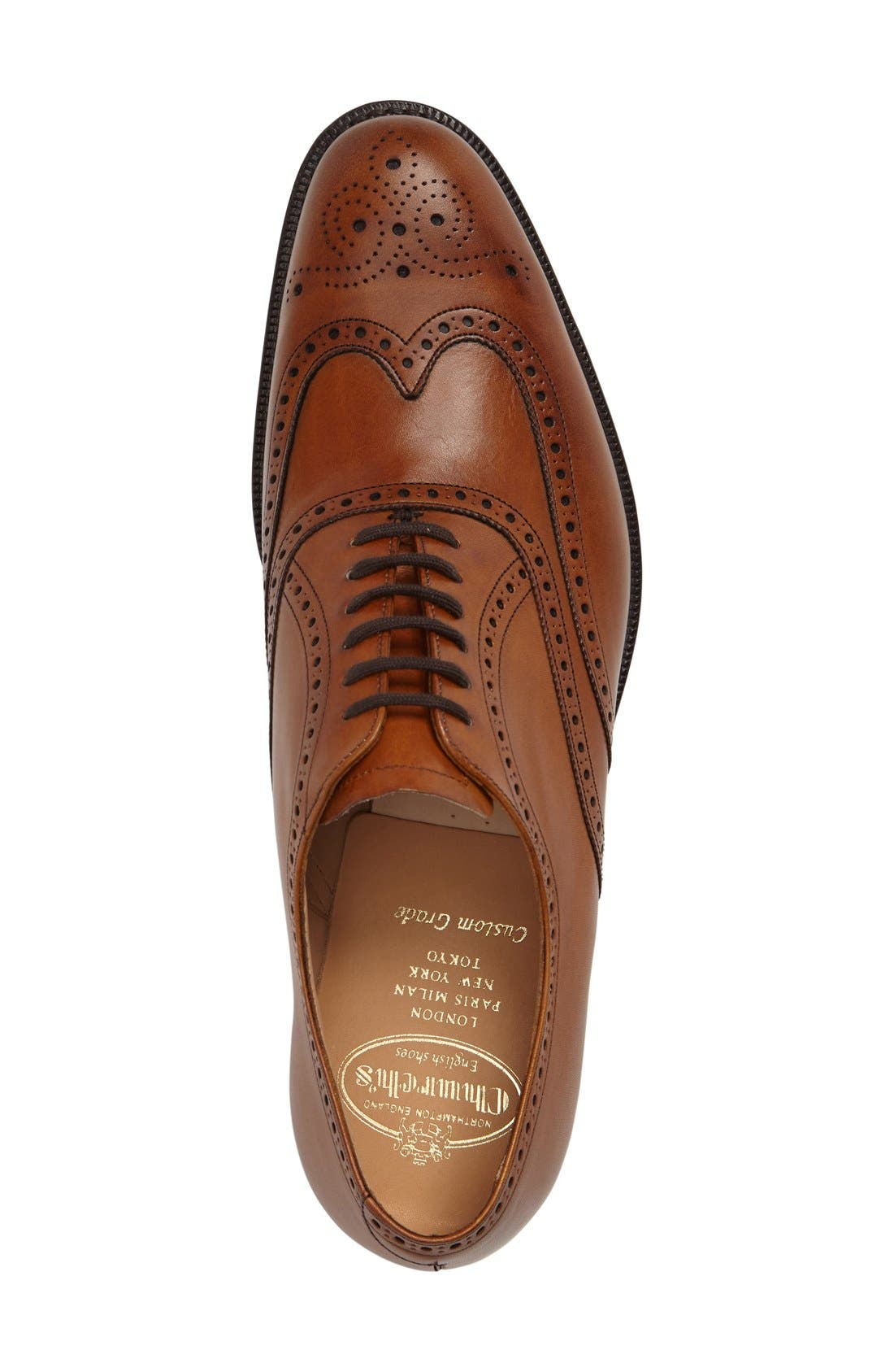 'Berlin' Wingtip Oxford,                             Alternate thumbnail 3, color,                             Brown Leather