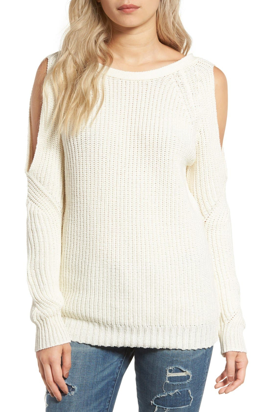 Cold Shoulder Sweater,                             Main thumbnail 1, color,                             Cream