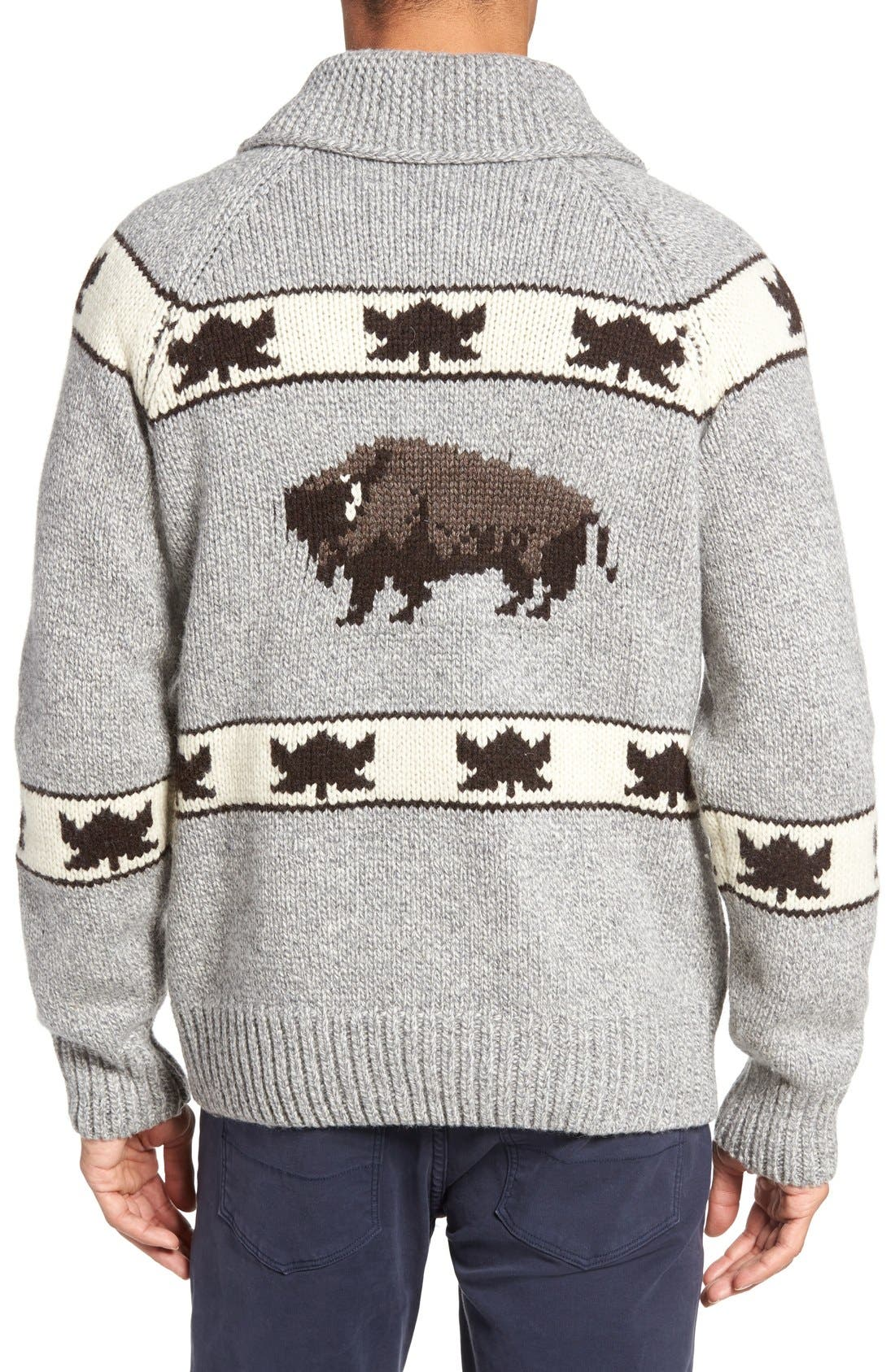 Cowichan Pullover Sweater,                             Alternate thumbnail 2, color,                             Heather Grey