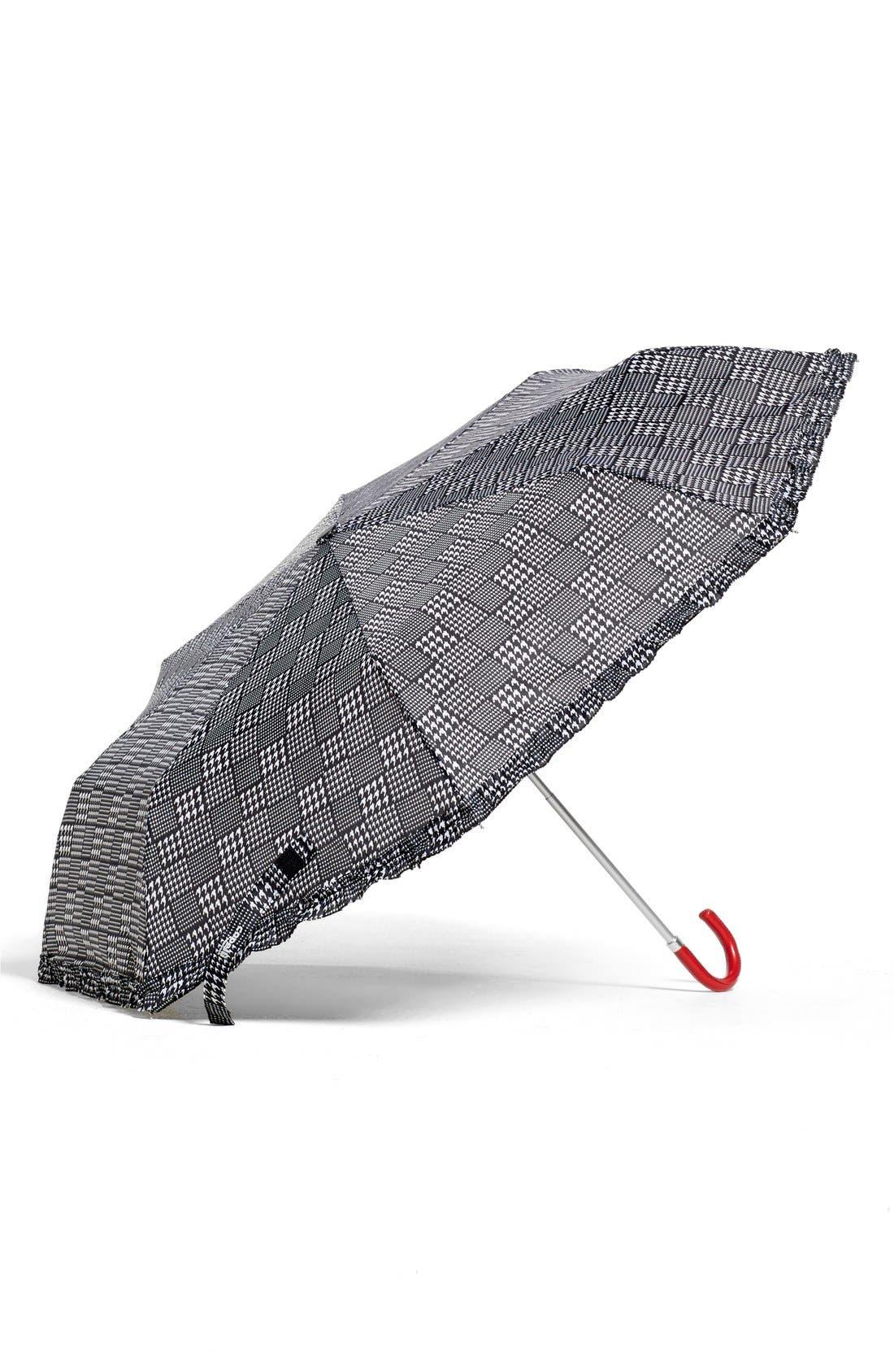 Capelli of New York Plaid Umbrella,                             Main thumbnail 1, color,                             White Combo