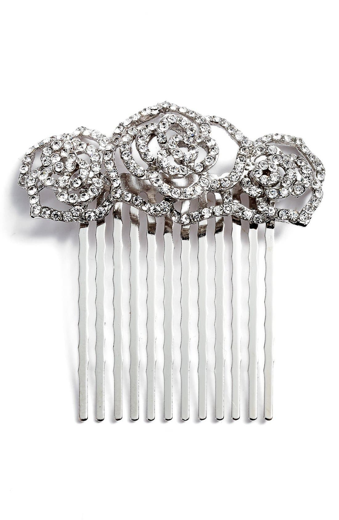 Rosie Posie Crystal Comb,                             Main thumbnail 1, color,                             Silver