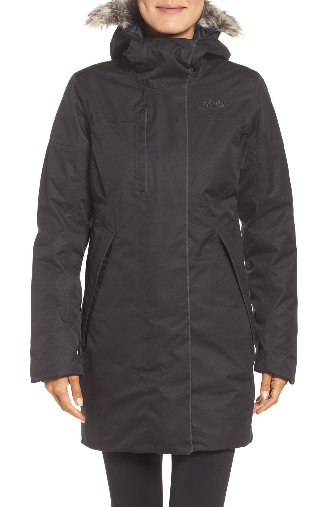 The North Face Far Northern Waterproof Down Parka with Faux Fur Trim