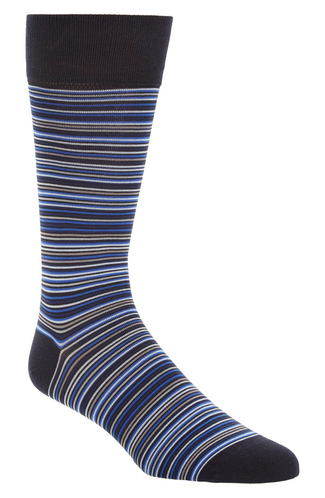 Multistripe Crew Socks,                         Main,                         color, Navy