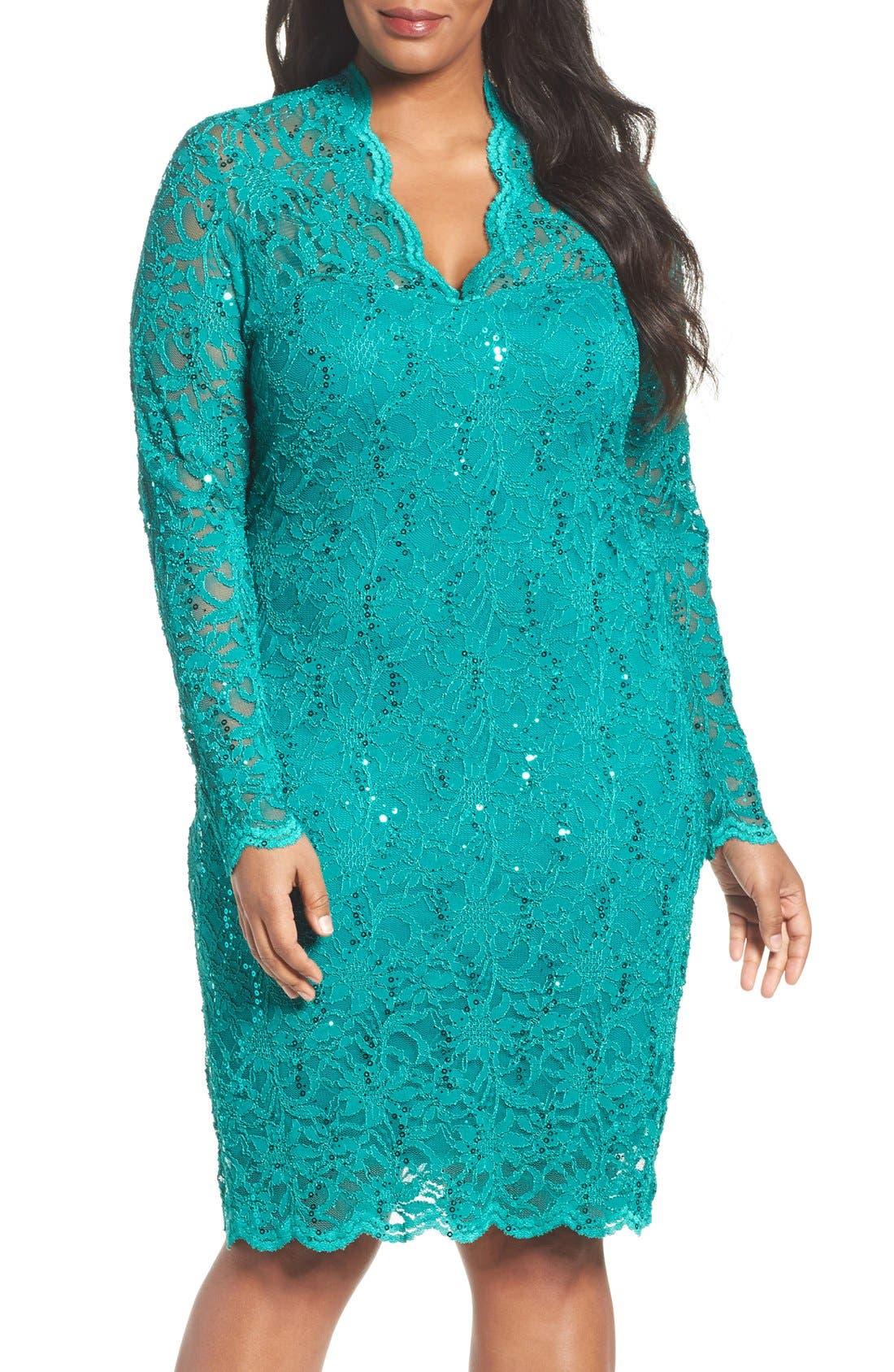 Marina Sequin Stretch Lace Sheath Dress (Plus Size)