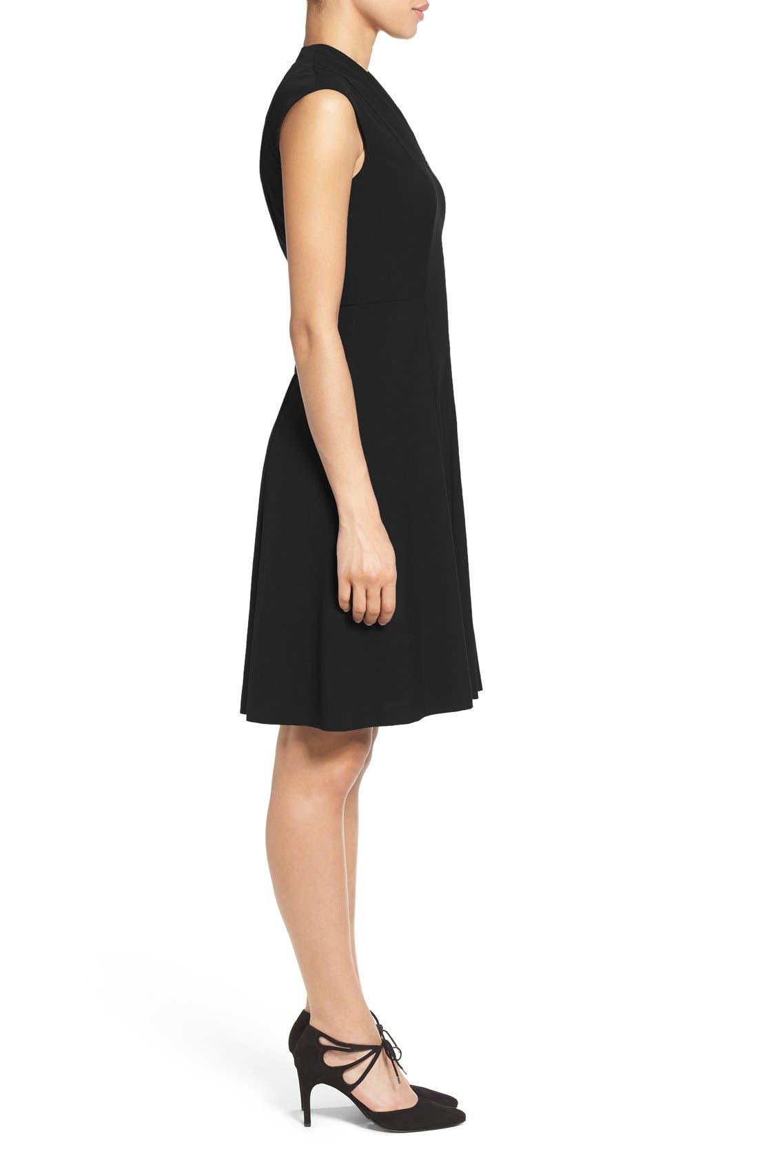 Fit & Flare Dress,                             Alternate thumbnail 3, color,                             Black