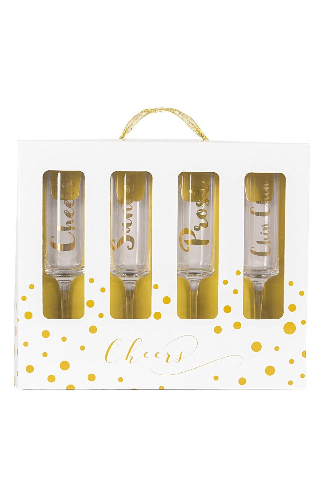 'Cheers' Champagne Flutes,                             Alternate thumbnail 3, color,                             Gold