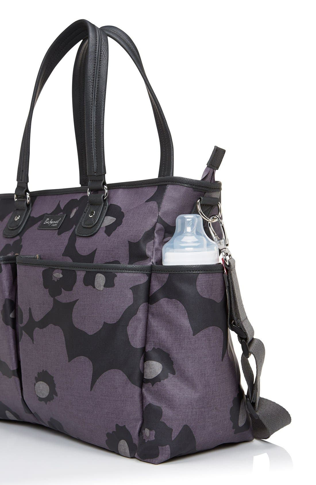 Bella Diaper Bag,                             Alternate thumbnail 5, color,                             Floral Grey