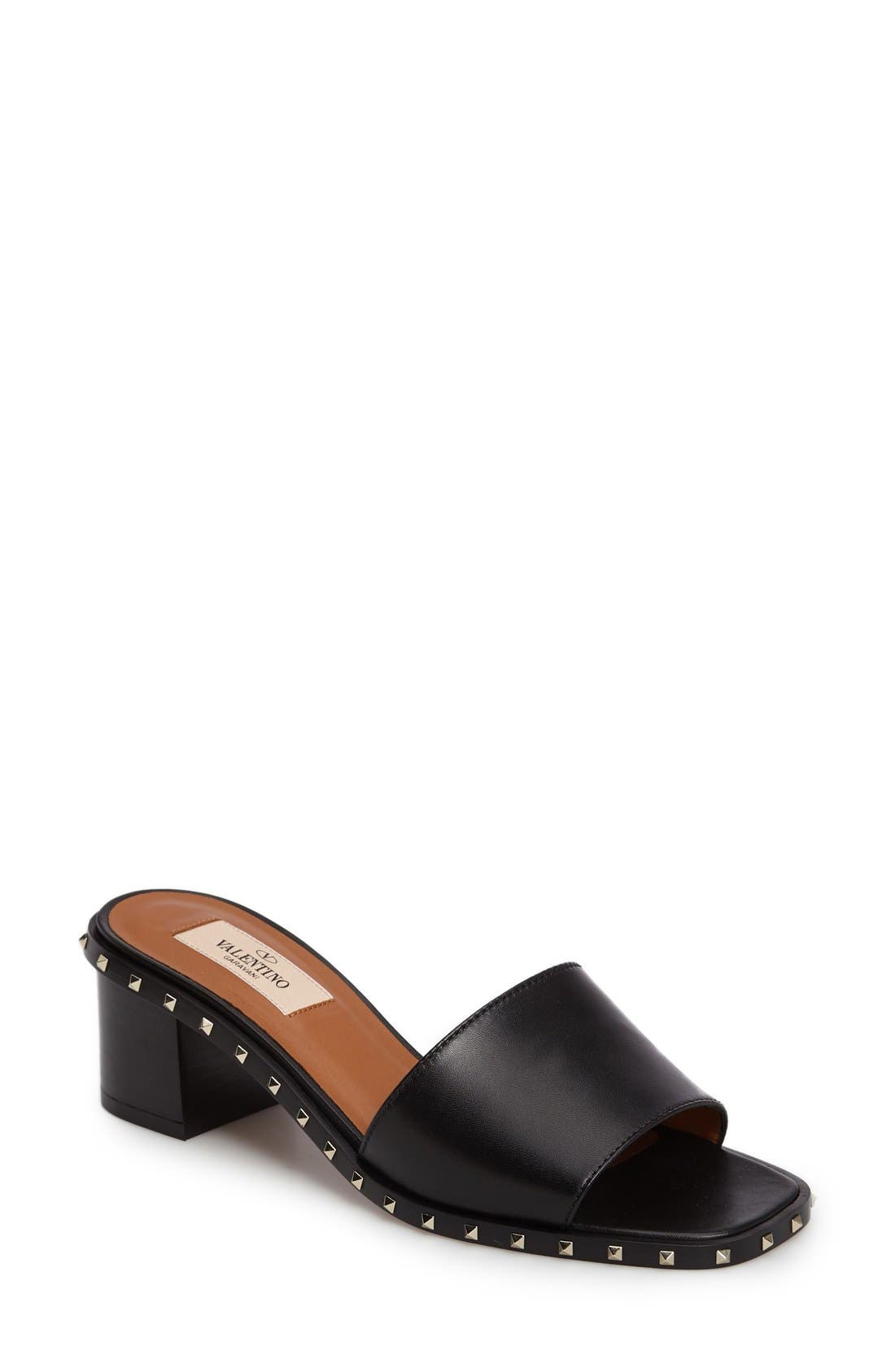 Soul Studded Slide Sandal,                             Main thumbnail 1, color,                             Black Leather