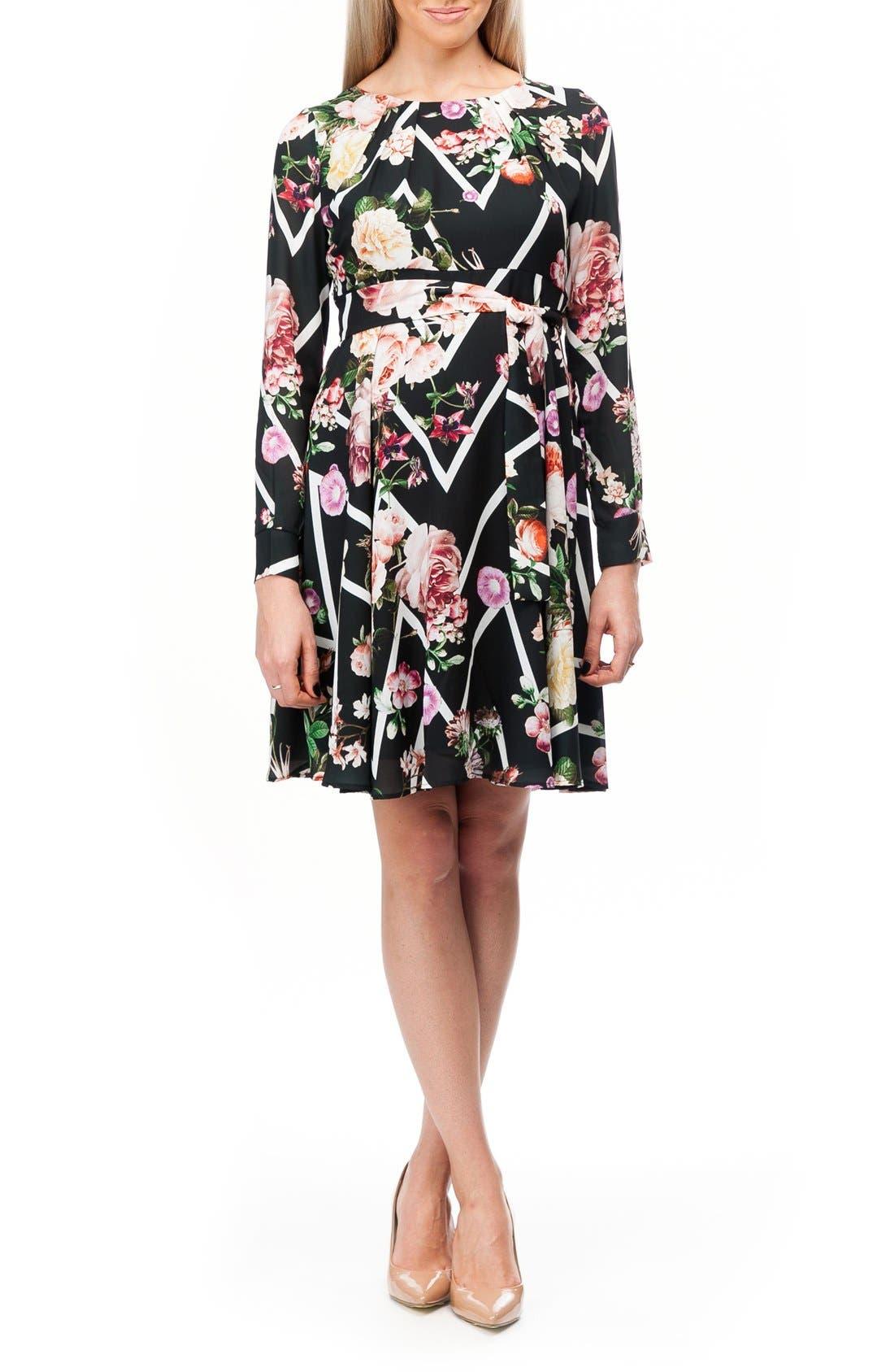 Stresa Chiffon Maternity Dress,                         Main,                         color, Flower Zigzag