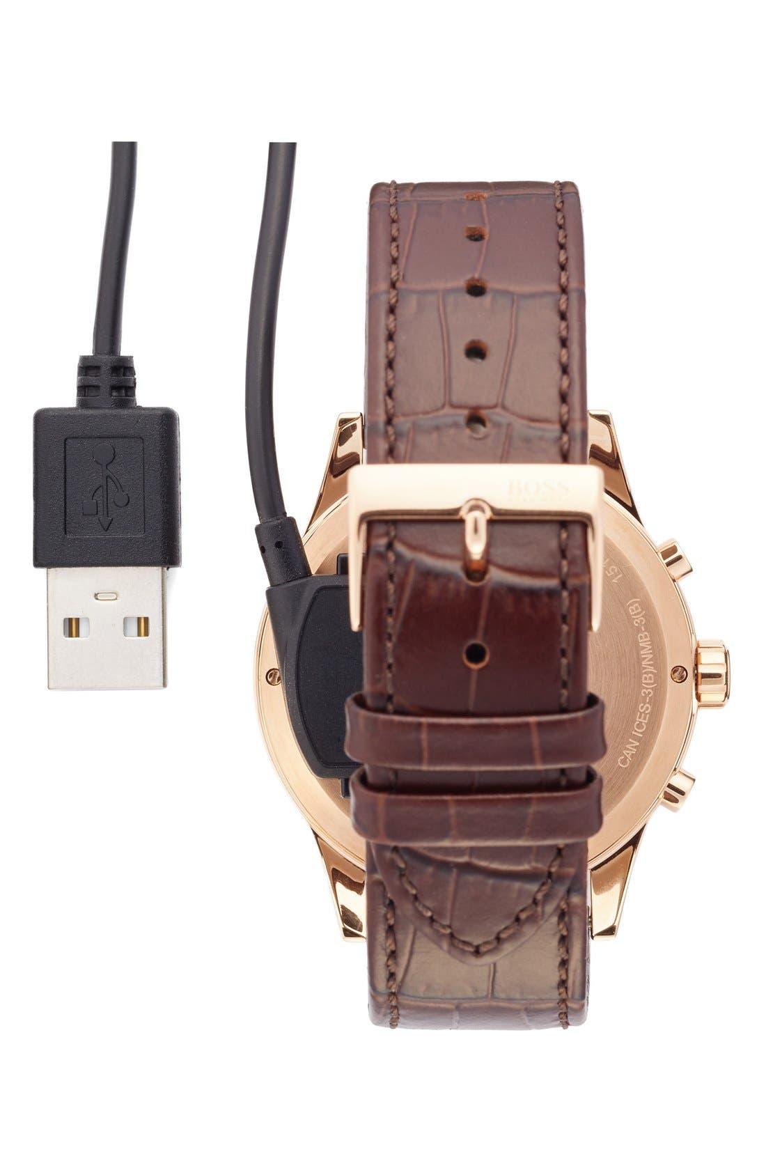 Alternate Image 4  - BOSS Classic Leather Strap Smart Watch, 44mm