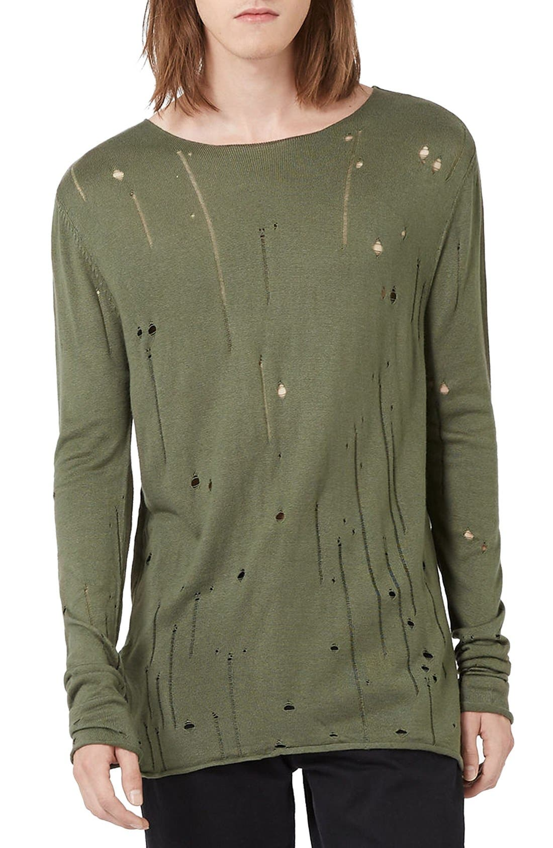 Moth Distressed Long Sleeve Knit T-Shirt,                         Main,                         color, Olive