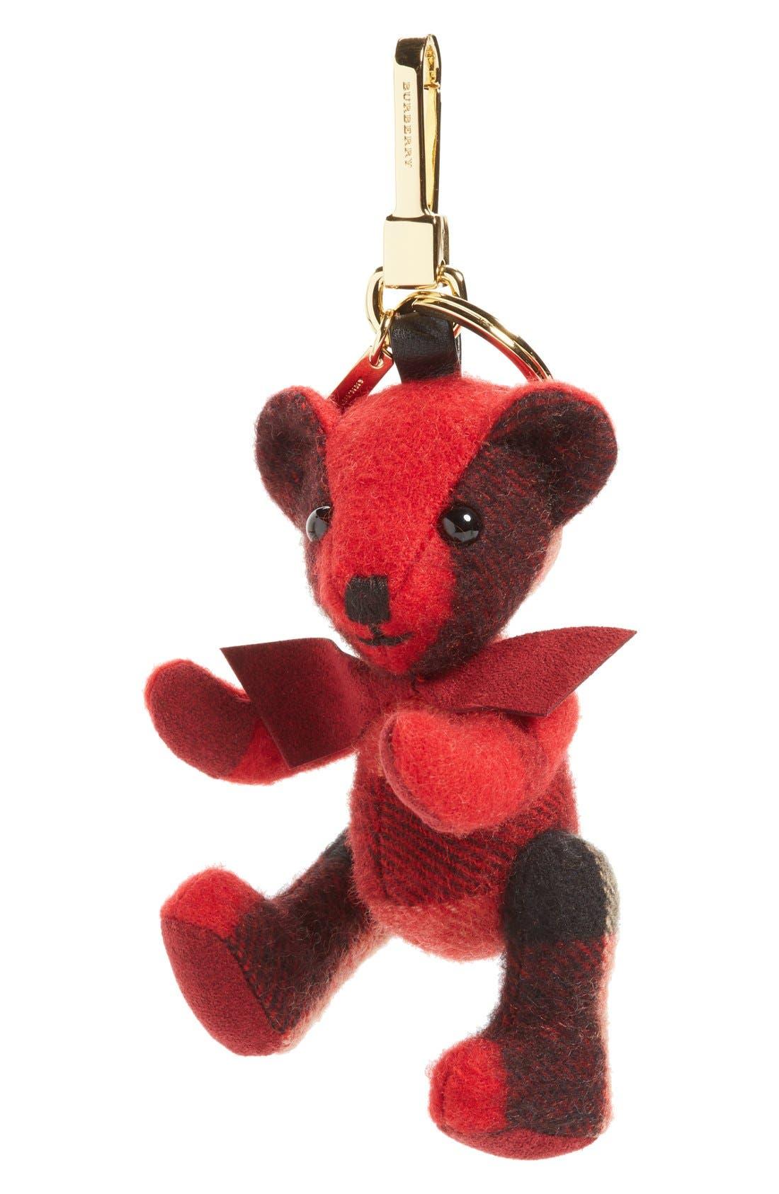 Thomas Bear Check Cashmere Bag Charm,                             Main thumbnail 1, color,                             Parade Red