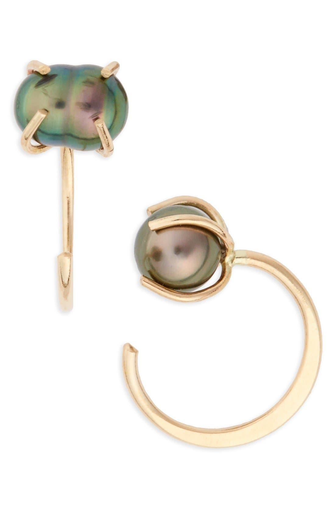 Tahitian Pearl Hoop Earrings,                         Main,                         color, Yellow Gold