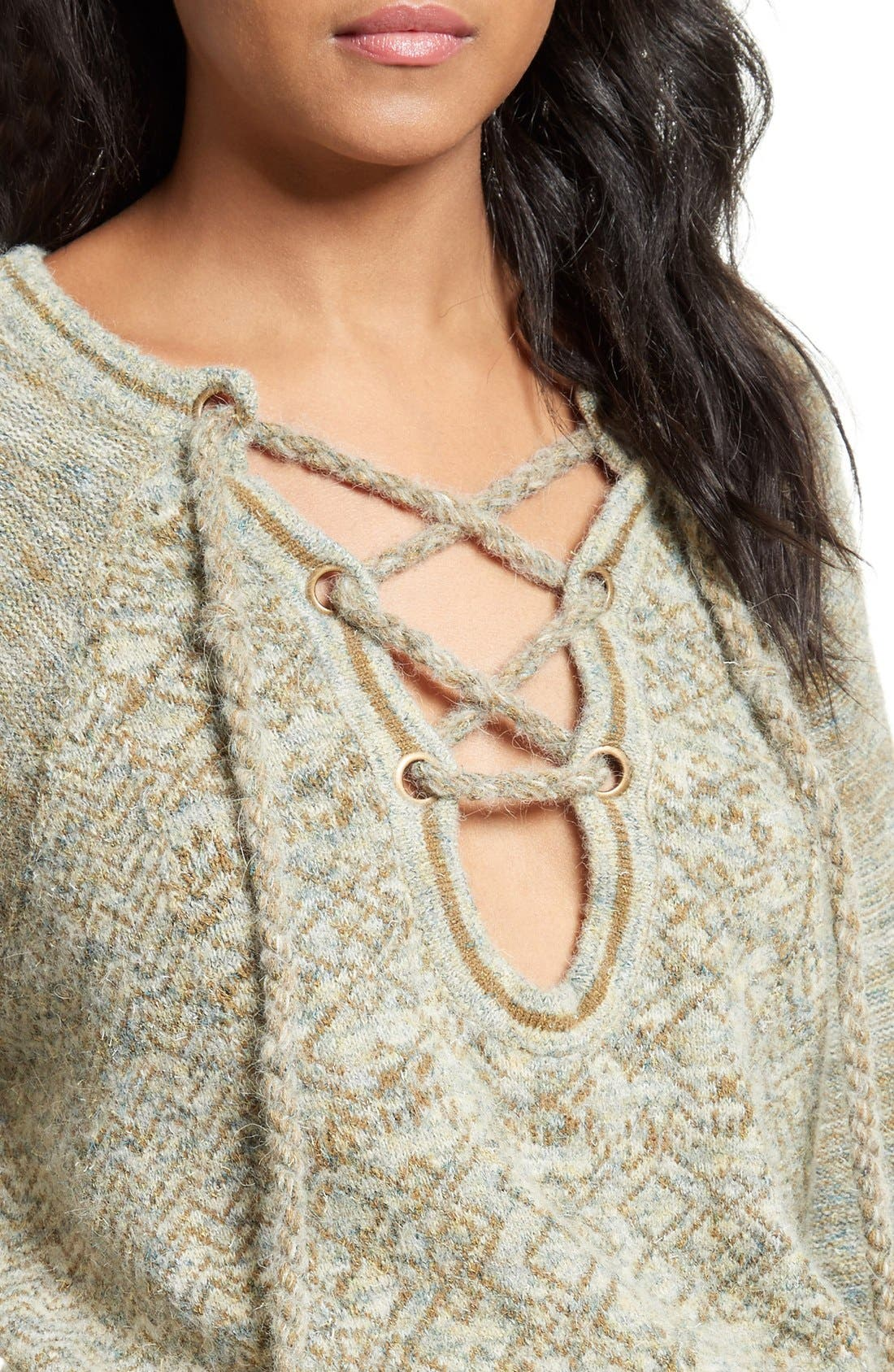 Alternate Image 4  - Free People Lace-Up Sweater