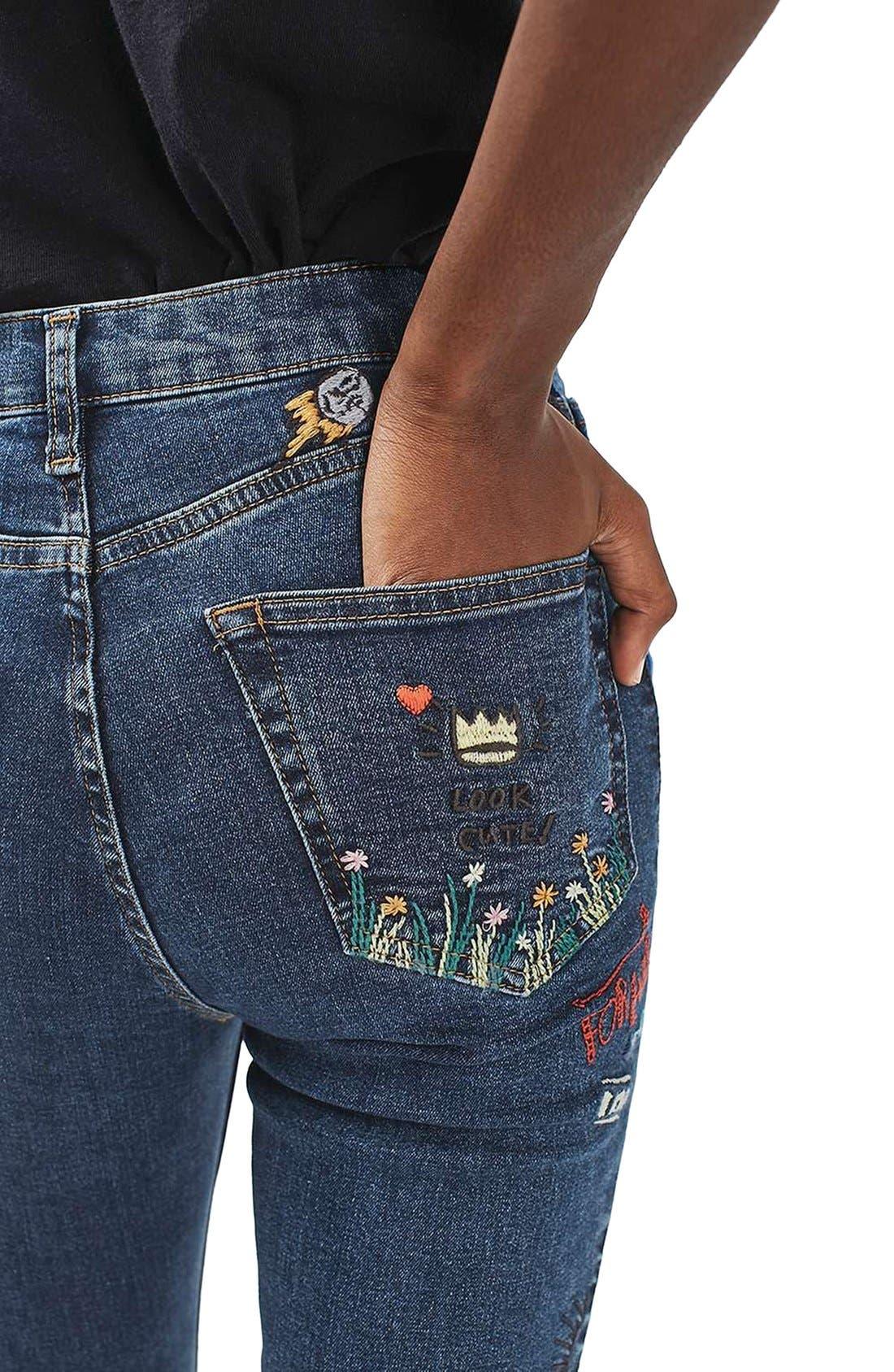 Alternate Image 6  - Topshop Jamie Scribble High Rise Skinny Jeans