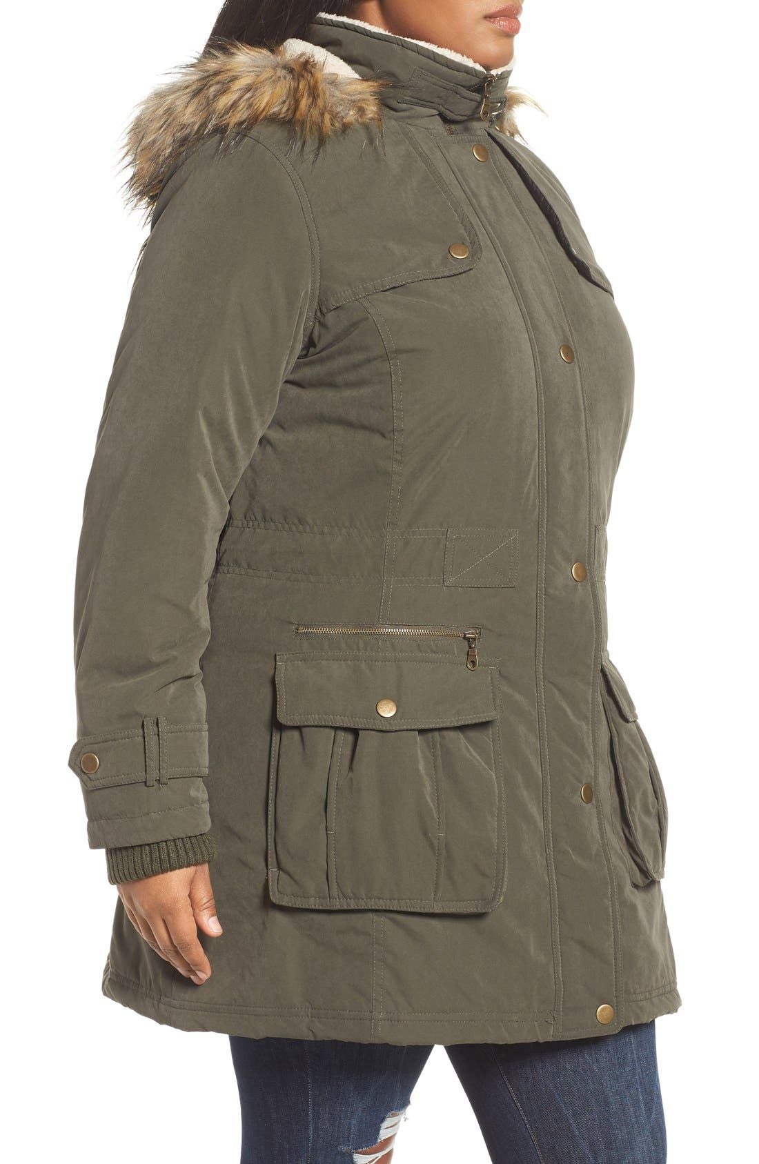 Hooded Parka with Faux Fur Trim,                             Alternate thumbnail 3, color,                             Olive