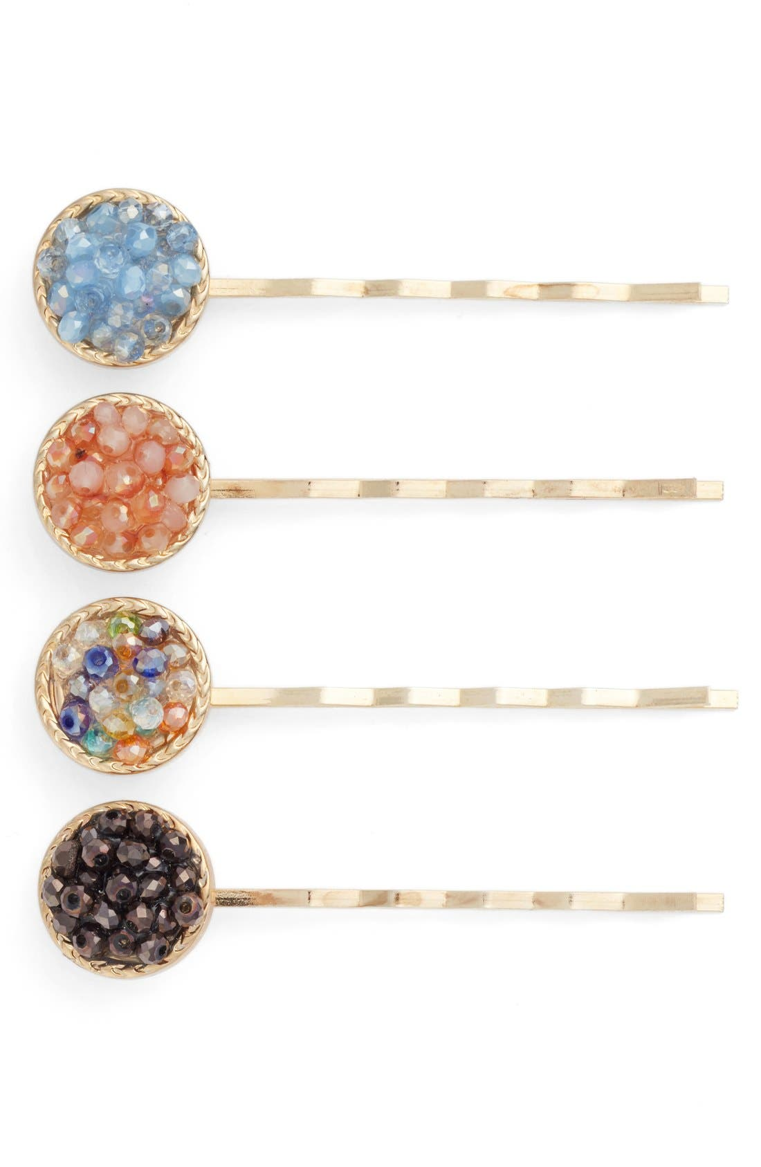 CARA 4-Pack Mini Bead Bobby Pins