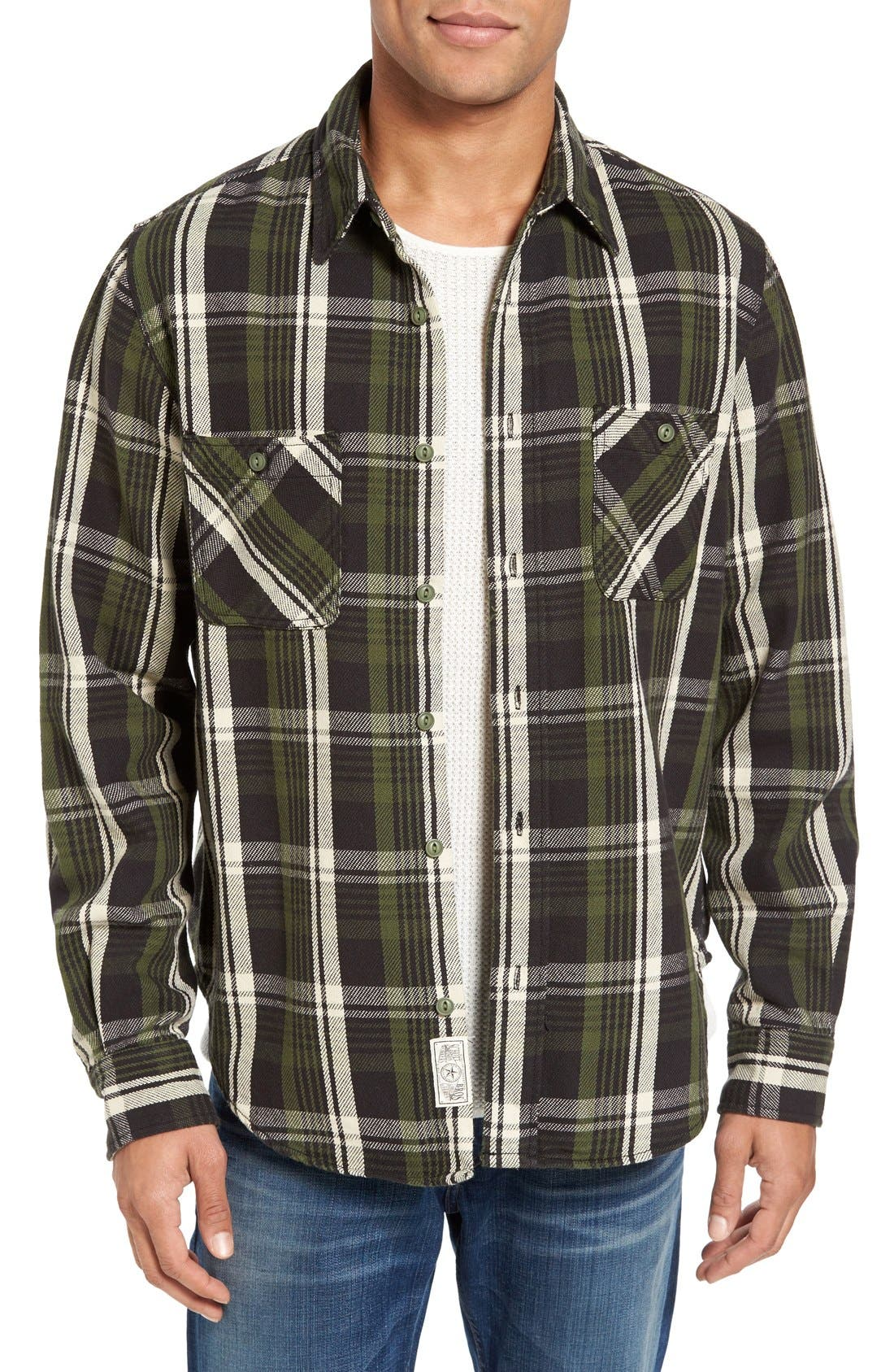 Classic Fit Plaid Flannel Shirt,                         Main,                         color, Green